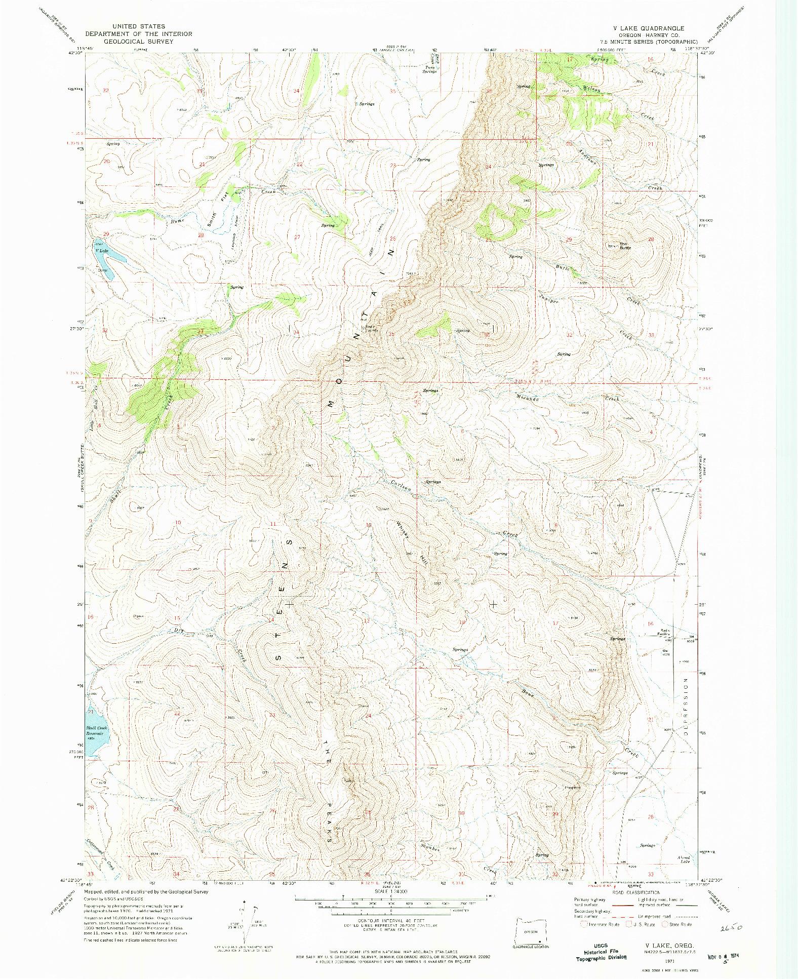 USGS 1:24000-SCALE QUADRANGLE FOR V LAKE, OR 1971