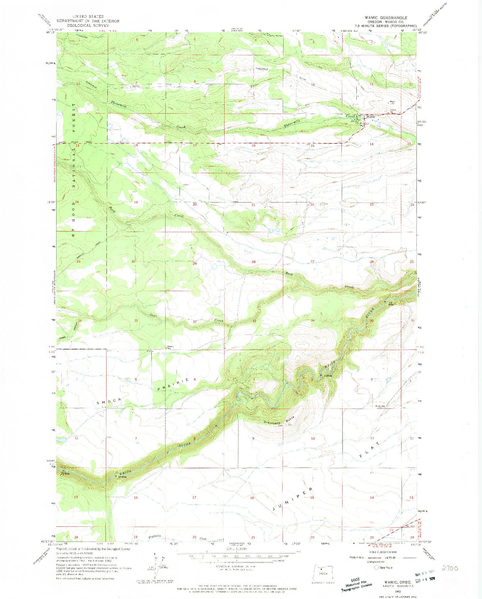 USGS 1:24000-SCALE QUADRANGLE FOR WAMIC, OR 1962
