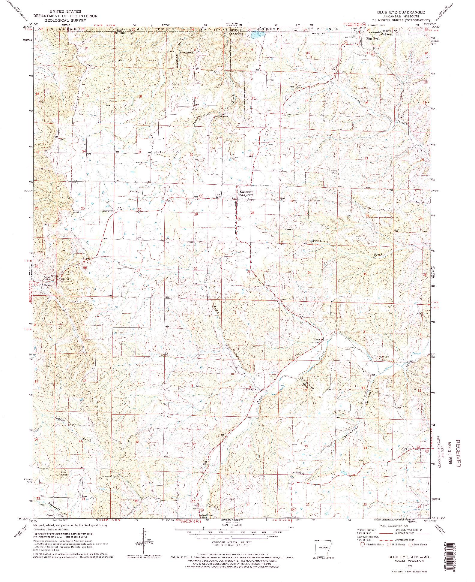 USGS 1:24000-SCALE QUADRANGLE FOR BLUE EYE, AR 1972