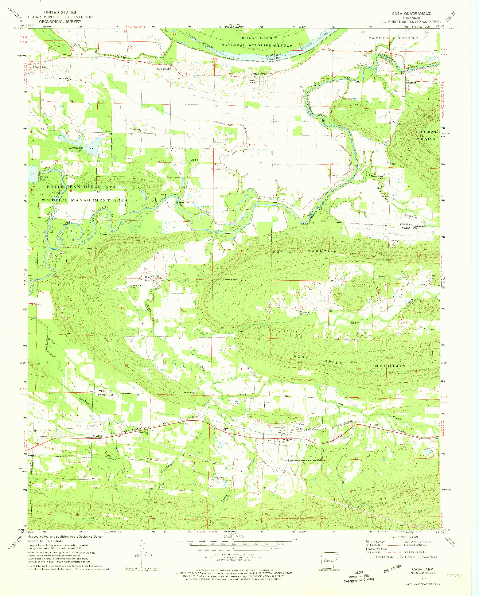 USGS 1:24000-SCALE QUADRANGLE FOR CASA, AR 1972