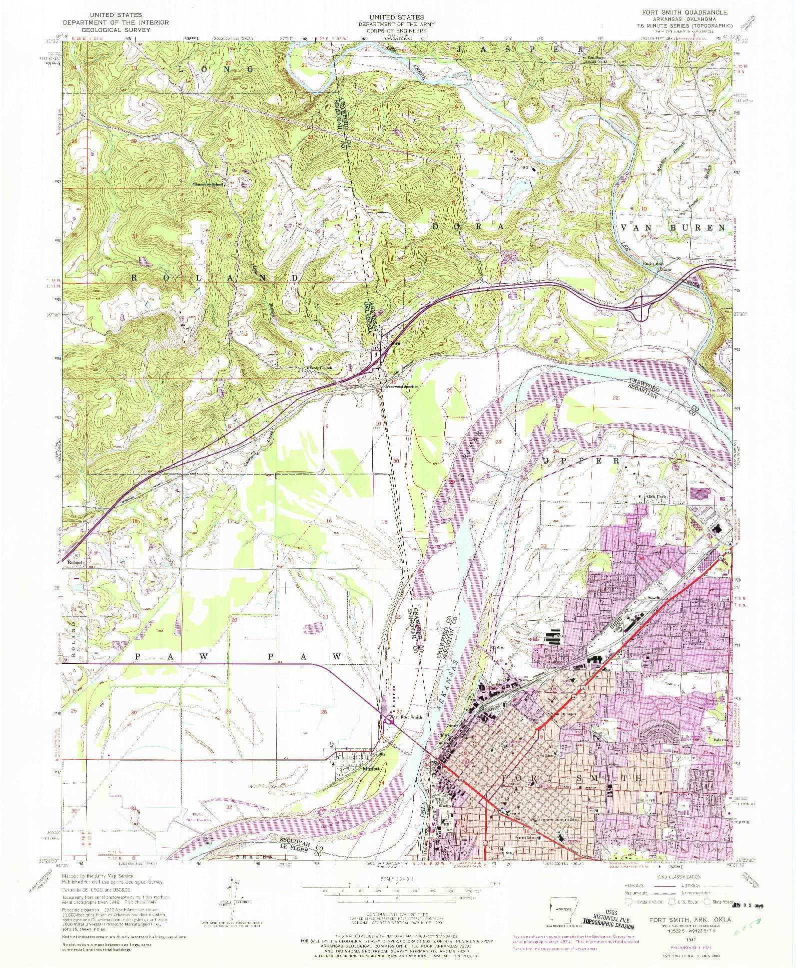 USGS 1:24000-SCALE QUADRANGLE FOR FORT SMITH, AR 1947