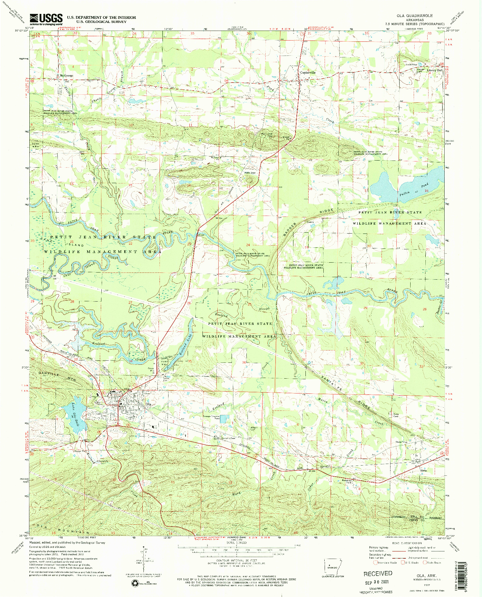 USGS 1:24000-SCALE QUADRANGLE FOR OLA, AR 1972