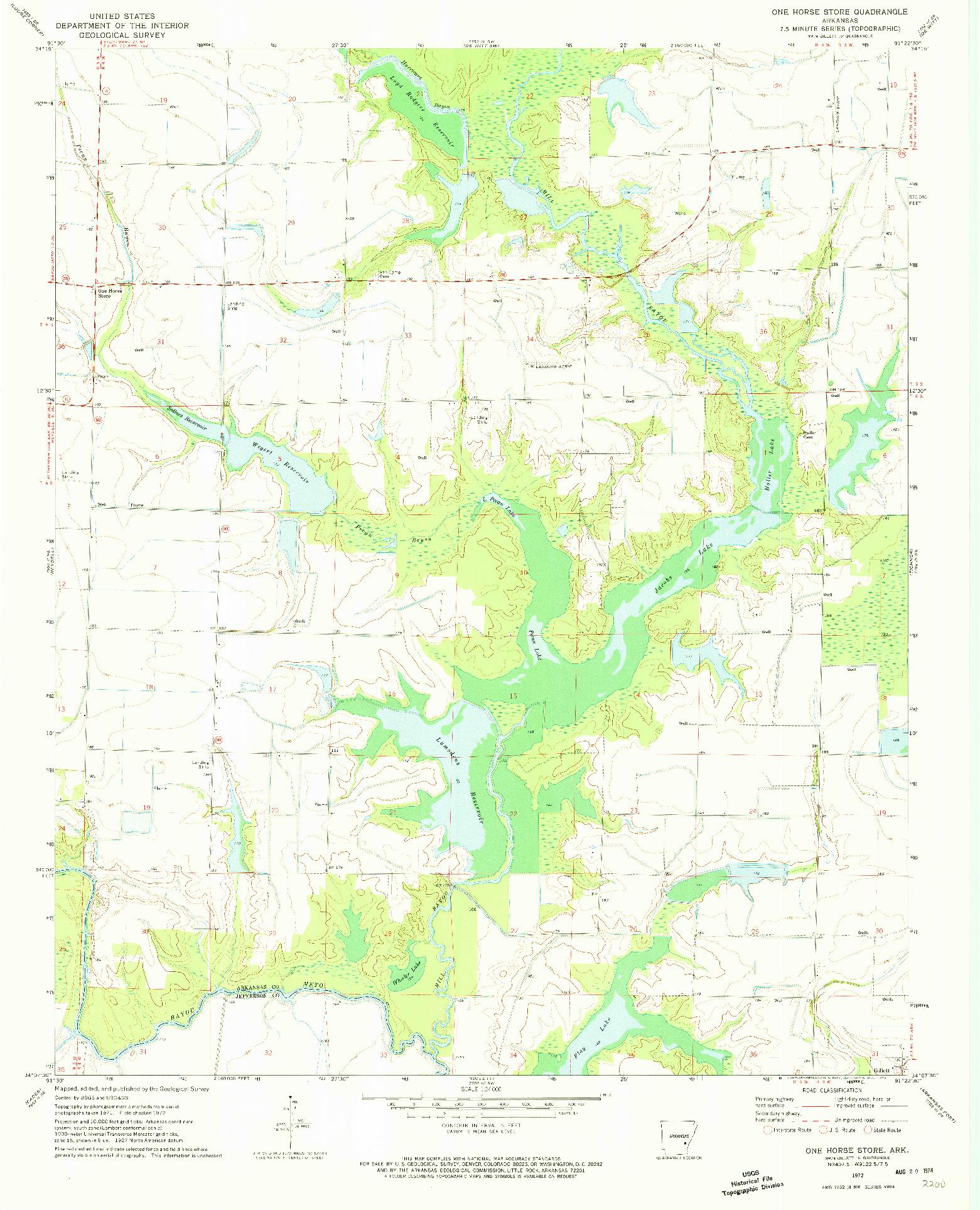 USGS 1:24000-SCALE QUADRANGLE FOR ONE HORSE STORE, AR 1972