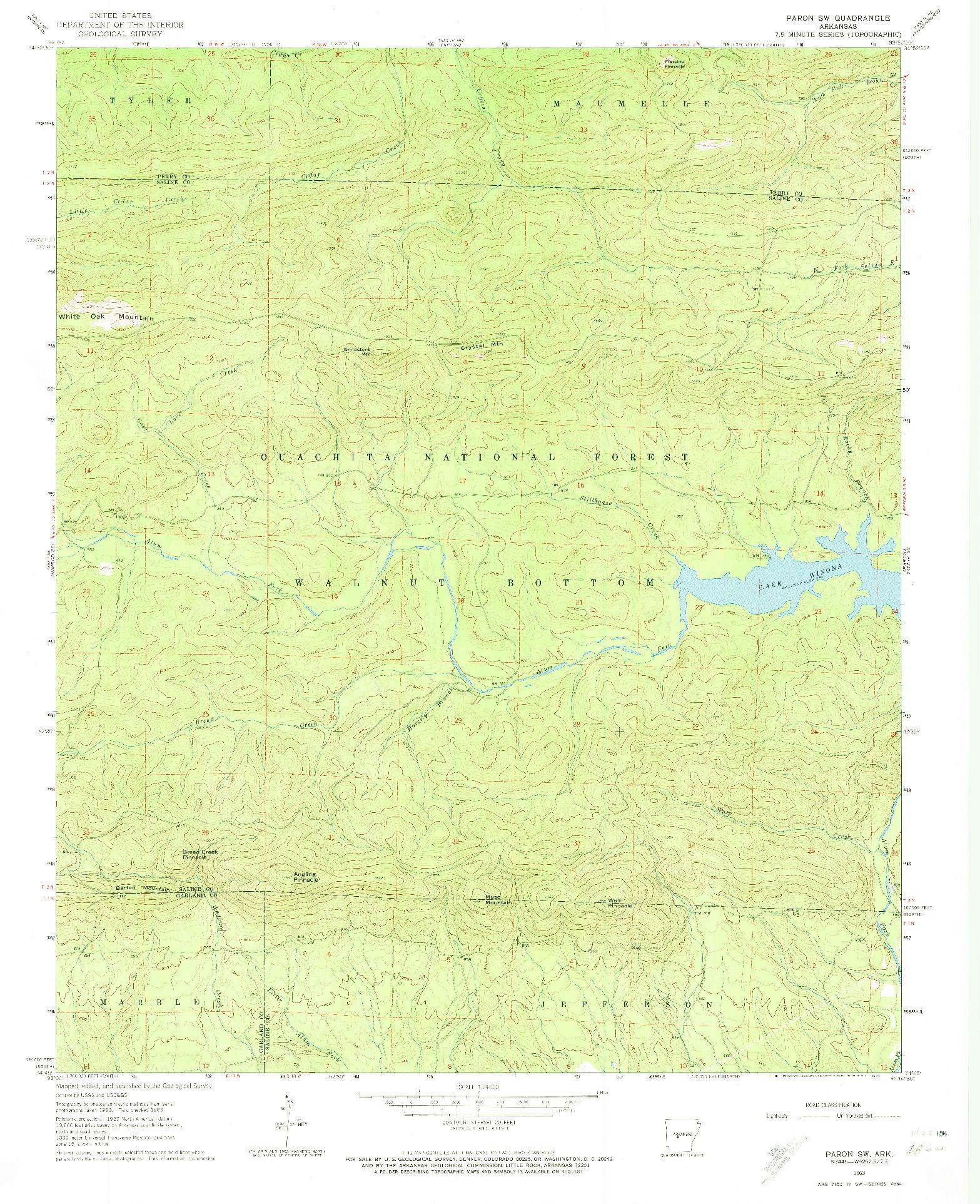 USGS 1:24000-SCALE QUADRANGLE FOR PARON SW, AR 1963