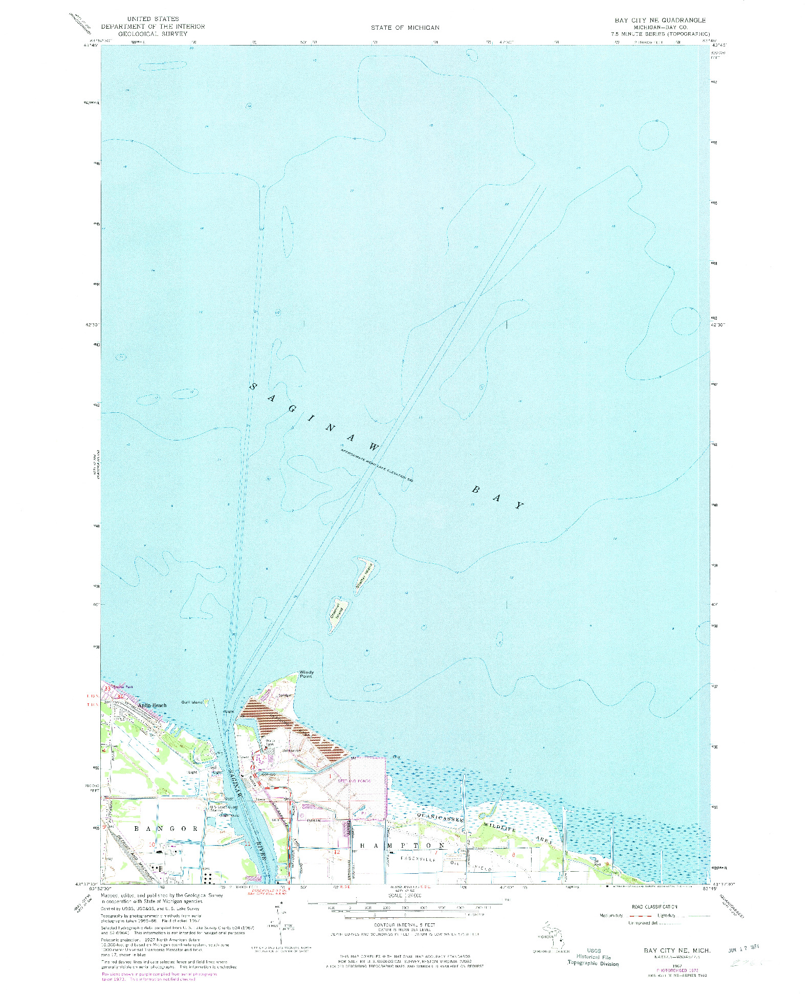 USGS 1:24000-SCALE QUADRANGLE FOR BAY CITY NE, MI 1967