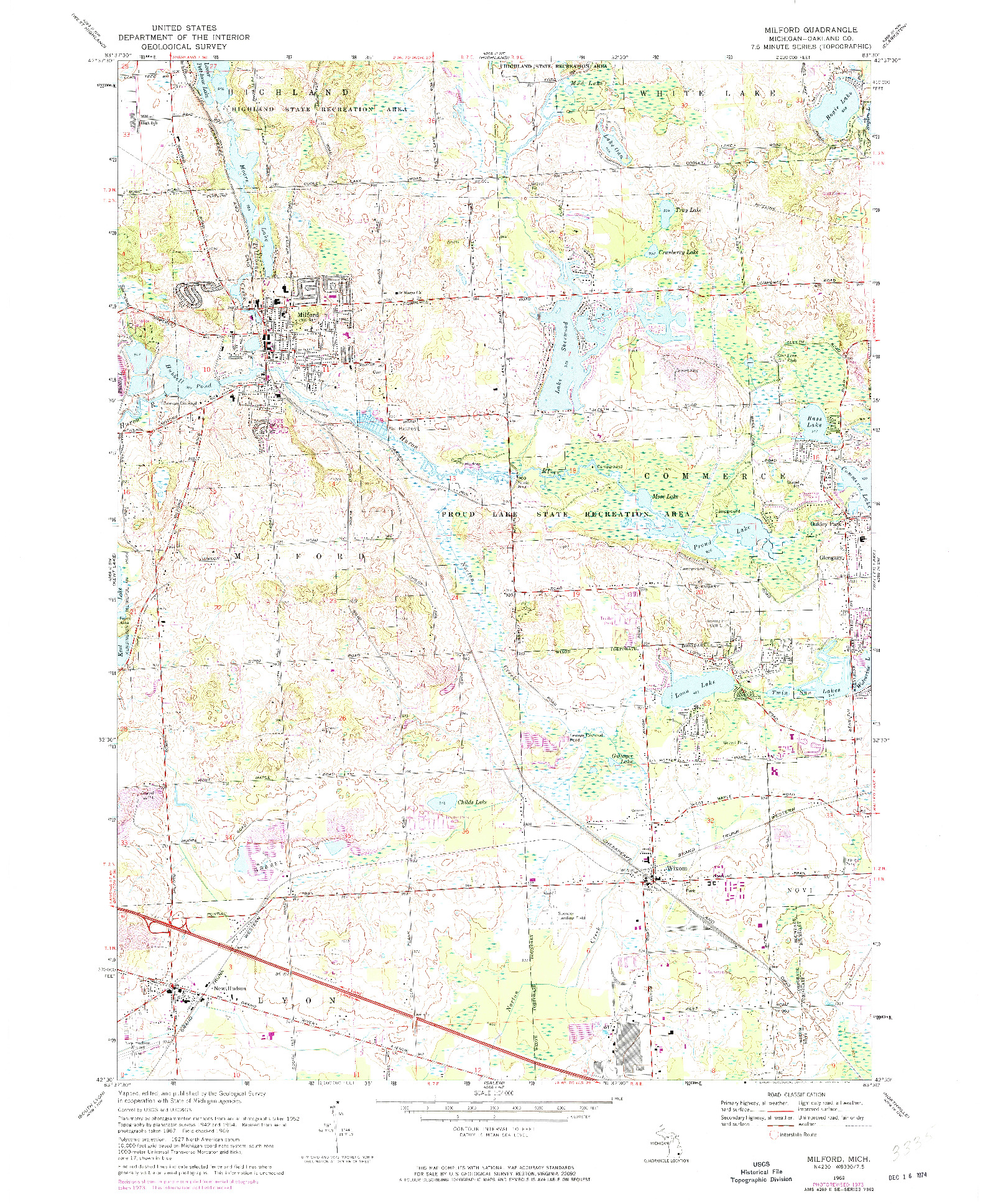 USGS 1:24000-SCALE QUADRANGLE FOR MILFORD, MI 1969