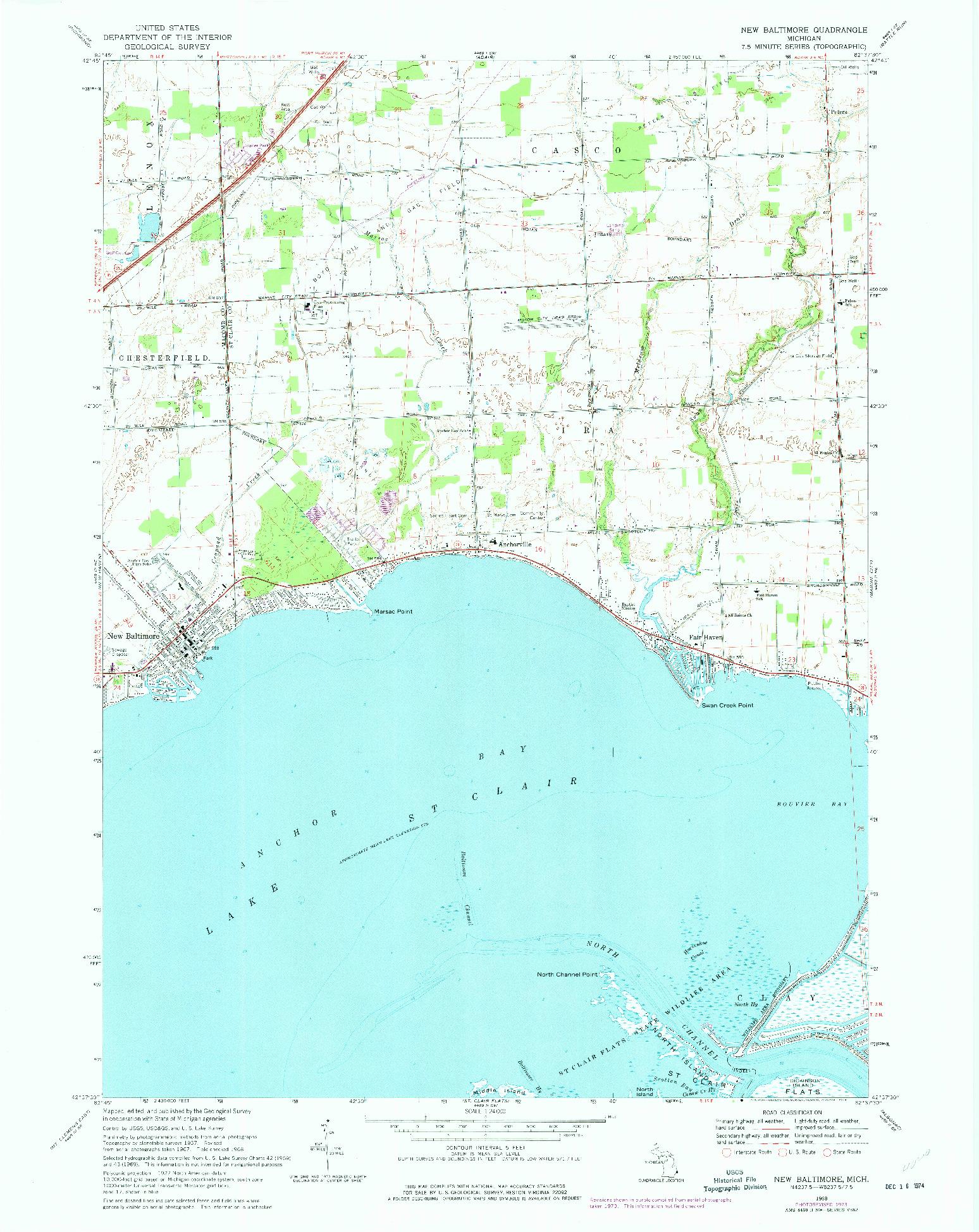 USGS 1:24000-SCALE QUADRANGLE FOR NEW BALTIMORE, MI 1968