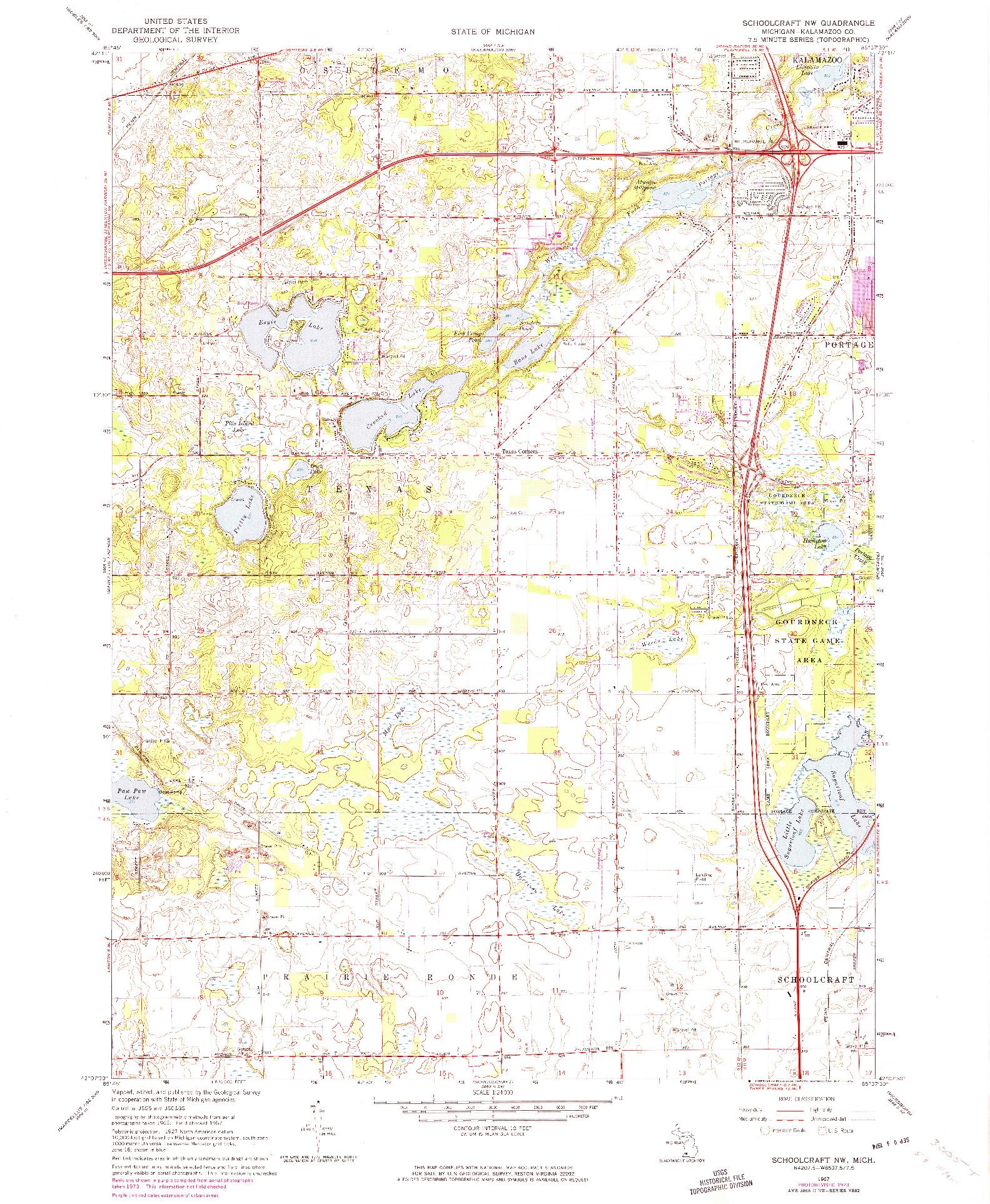 USGS 1:24000-SCALE QUADRANGLE FOR SCHOOLCRAFT NW, MI 1967