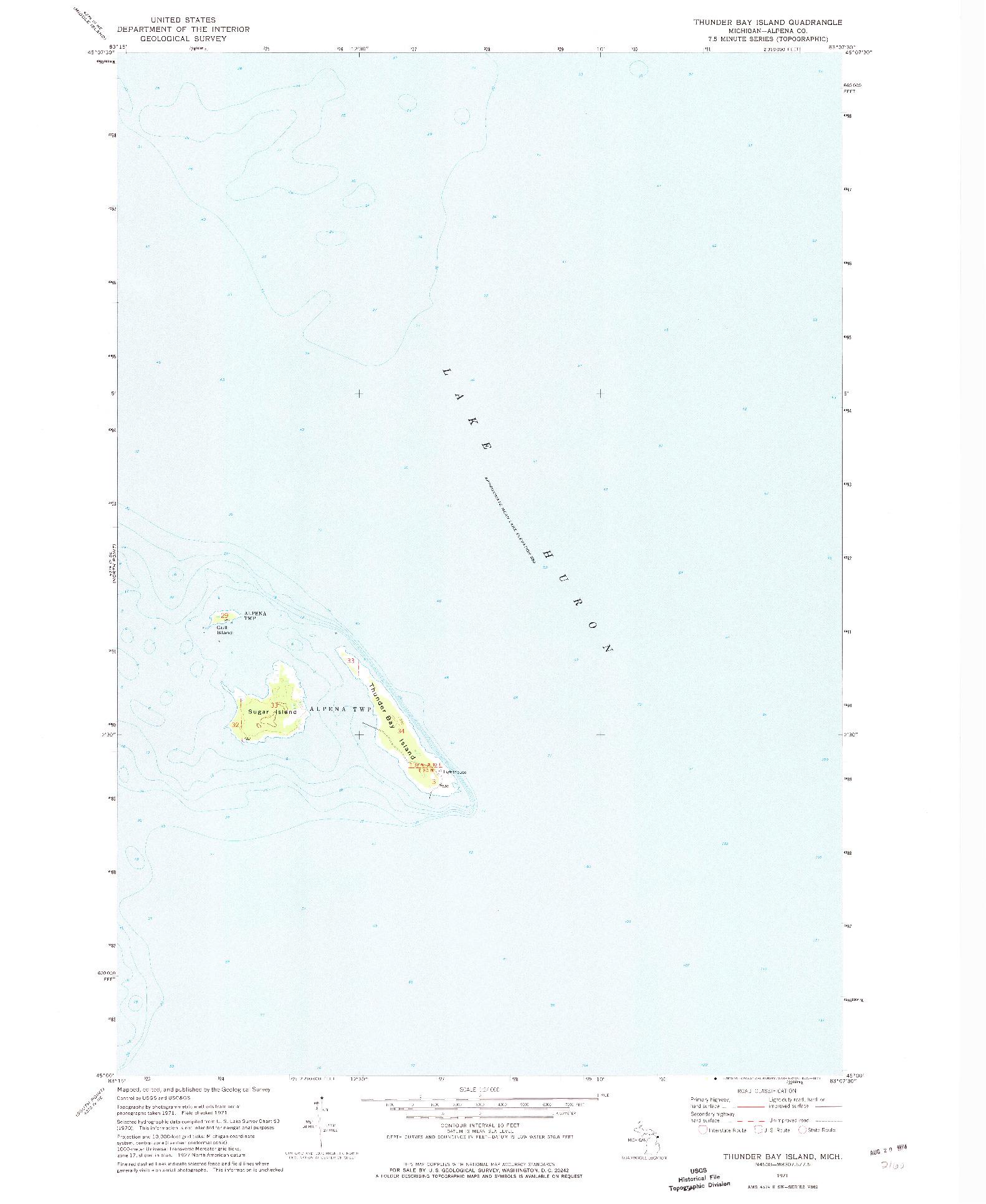 USGS 1:24000-SCALE QUADRANGLE FOR THUNDER BAY ISLAND, MI 1971