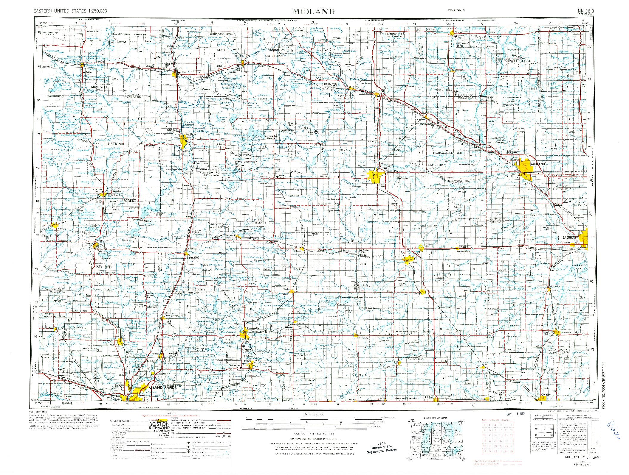 USGS 1:250000-SCALE QUADRANGLE FOR MIDLAND, MI 1954