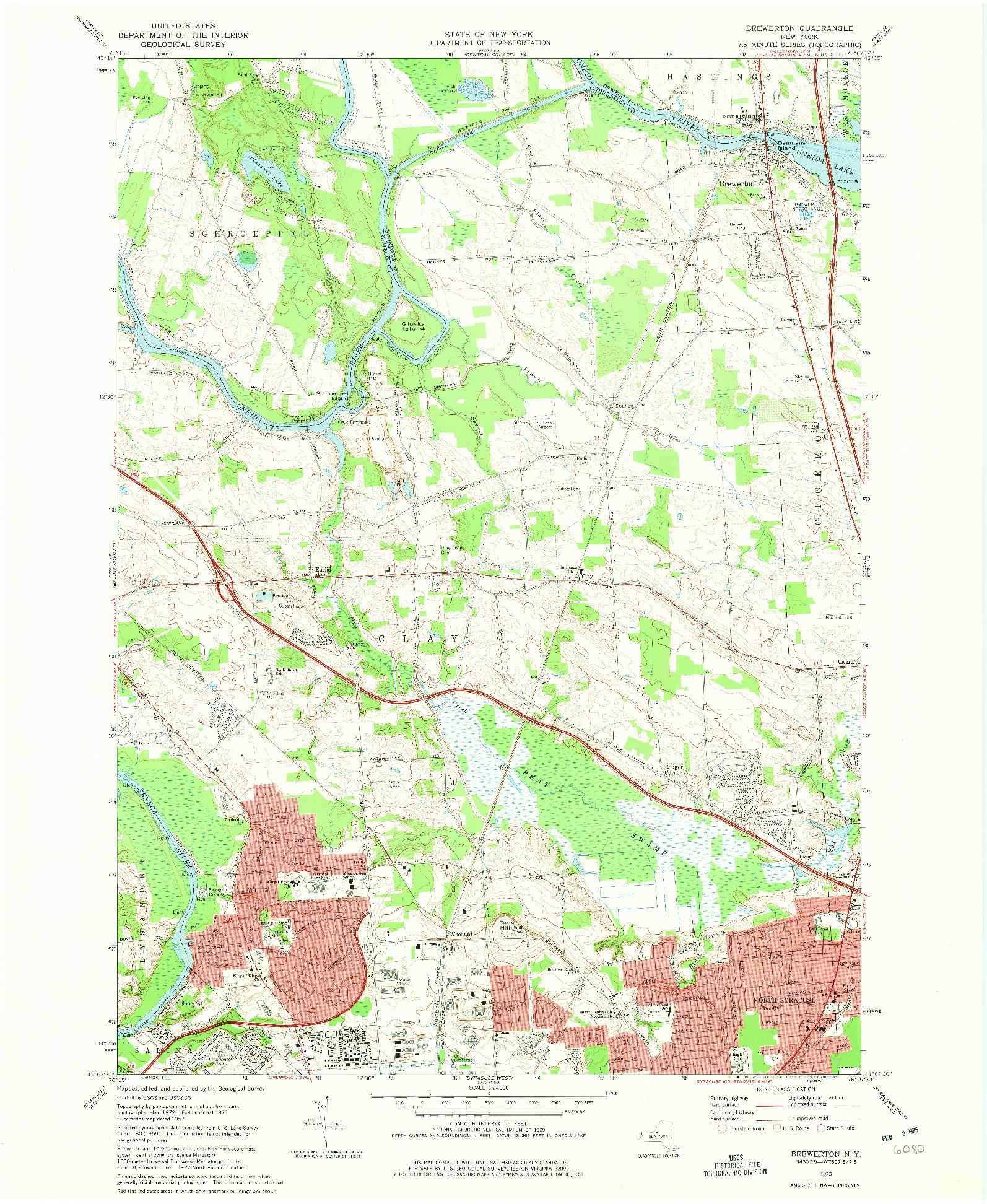 USGS 1:24000-SCALE QUADRANGLE FOR BREWERTON, NY 1973