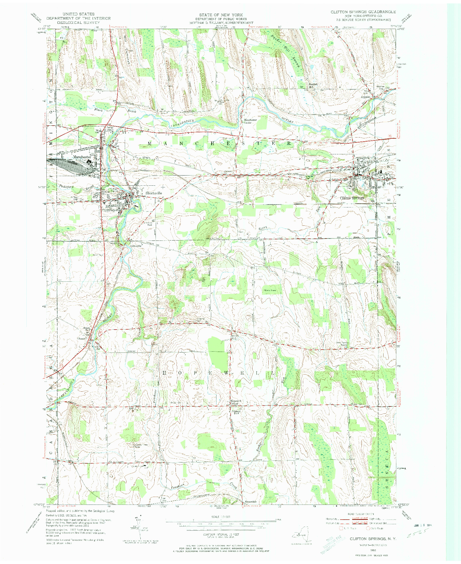 USGS 1:24000-SCALE QUADRANGLE FOR CLIFTON SPRINGS, NY 1951