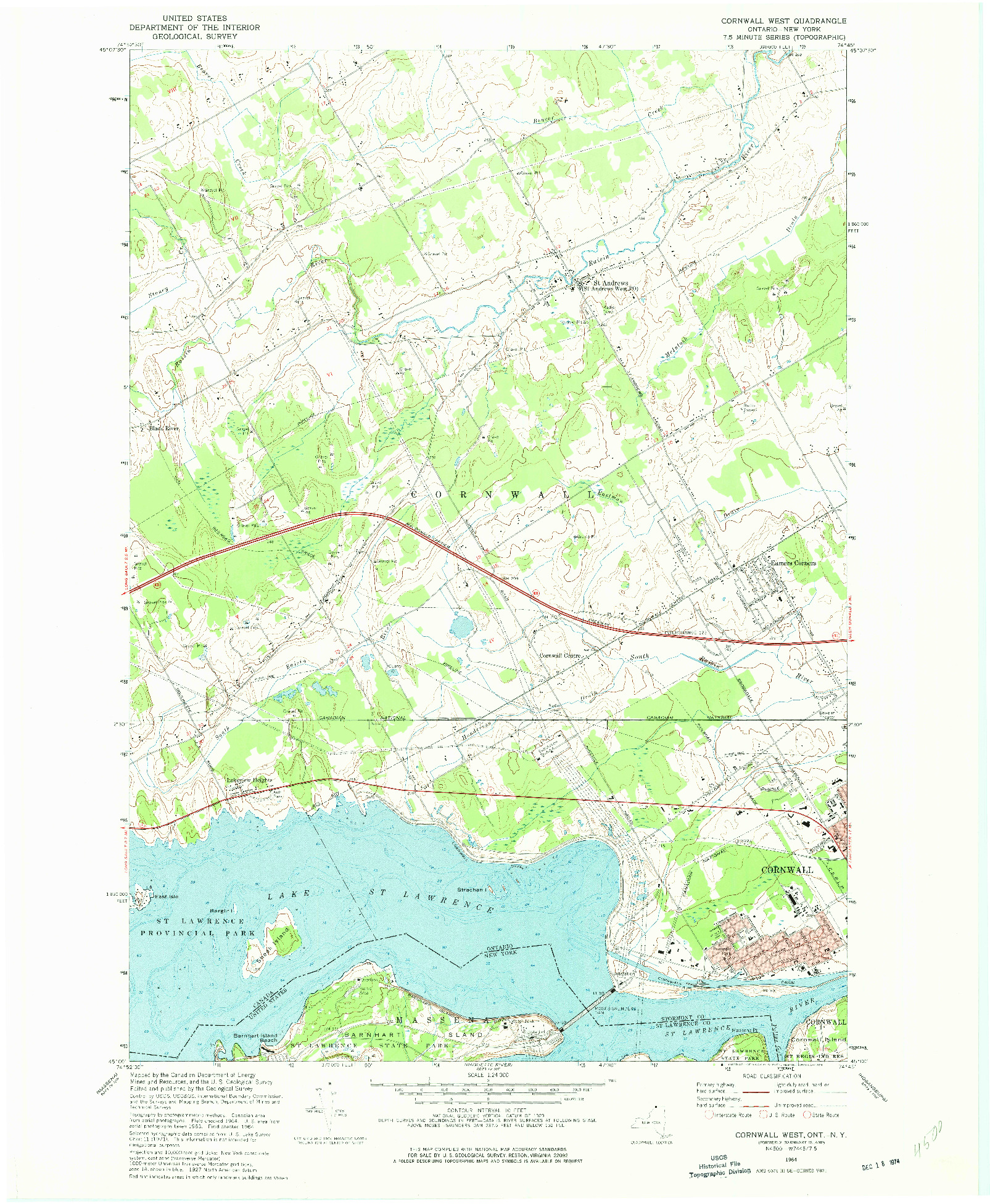 USGS 1:24000-SCALE QUADRANGLE FOR CORNWALL WEST, NY 1964