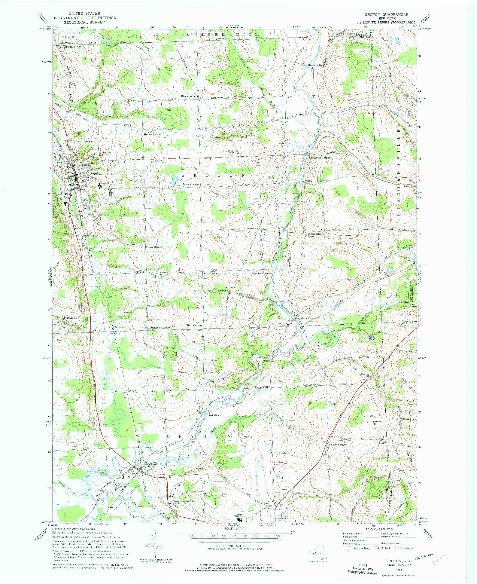 USGS 1:24000-SCALE QUADRANGLE FOR GROTON, NY 1970