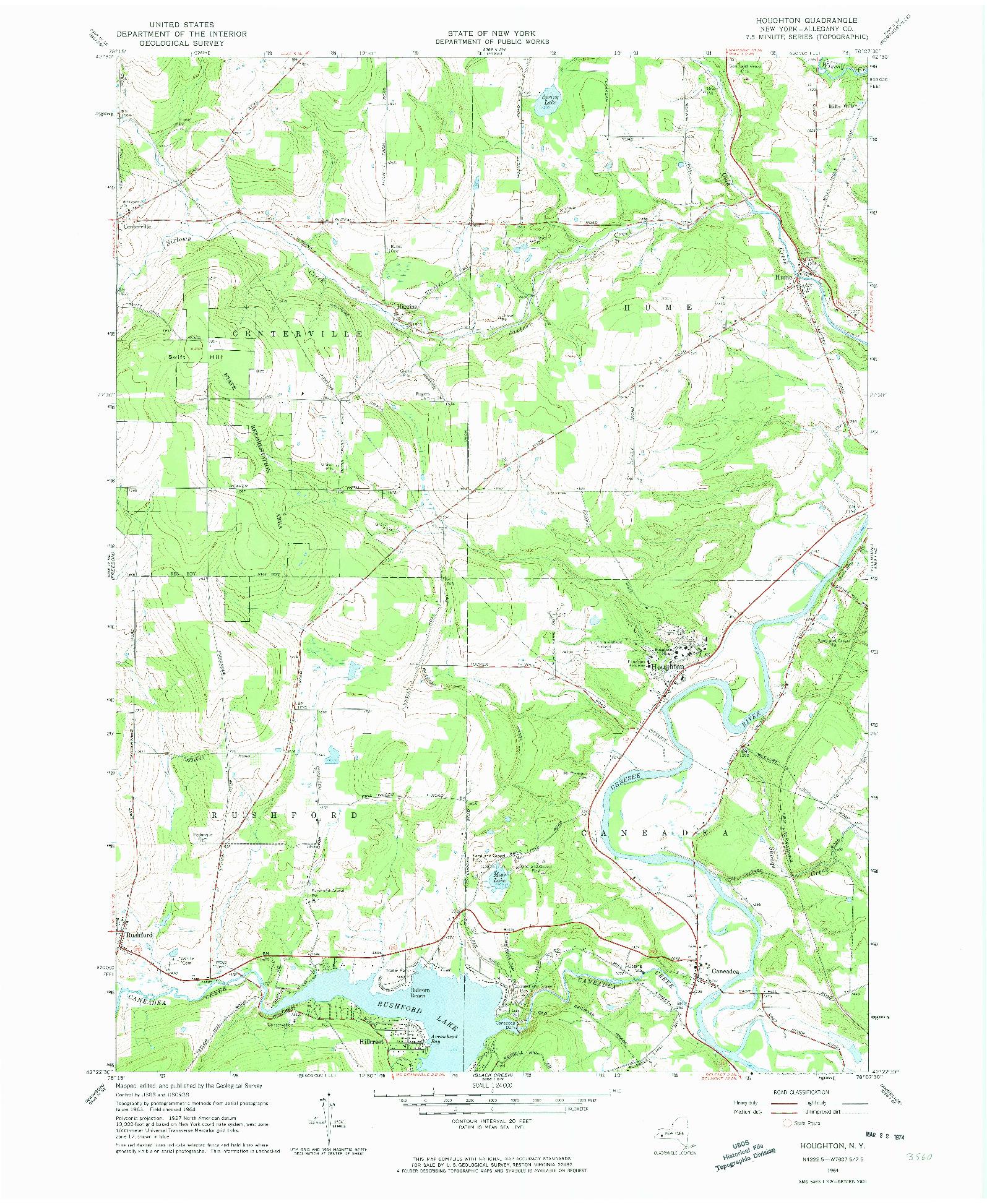 USGS 1:24000-SCALE QUADRANGLE FOR HOUGHTON, NY 1964