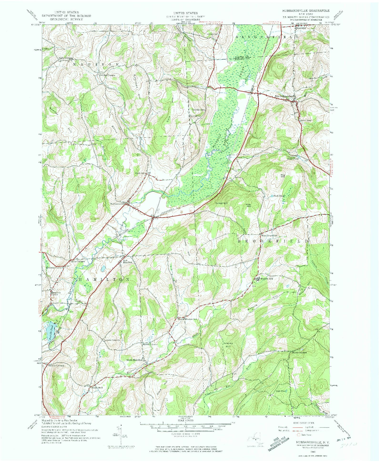 USGS 1:24000-SCALE QUADRANGLE FOR HUBBARDSVILLE, NY 1943