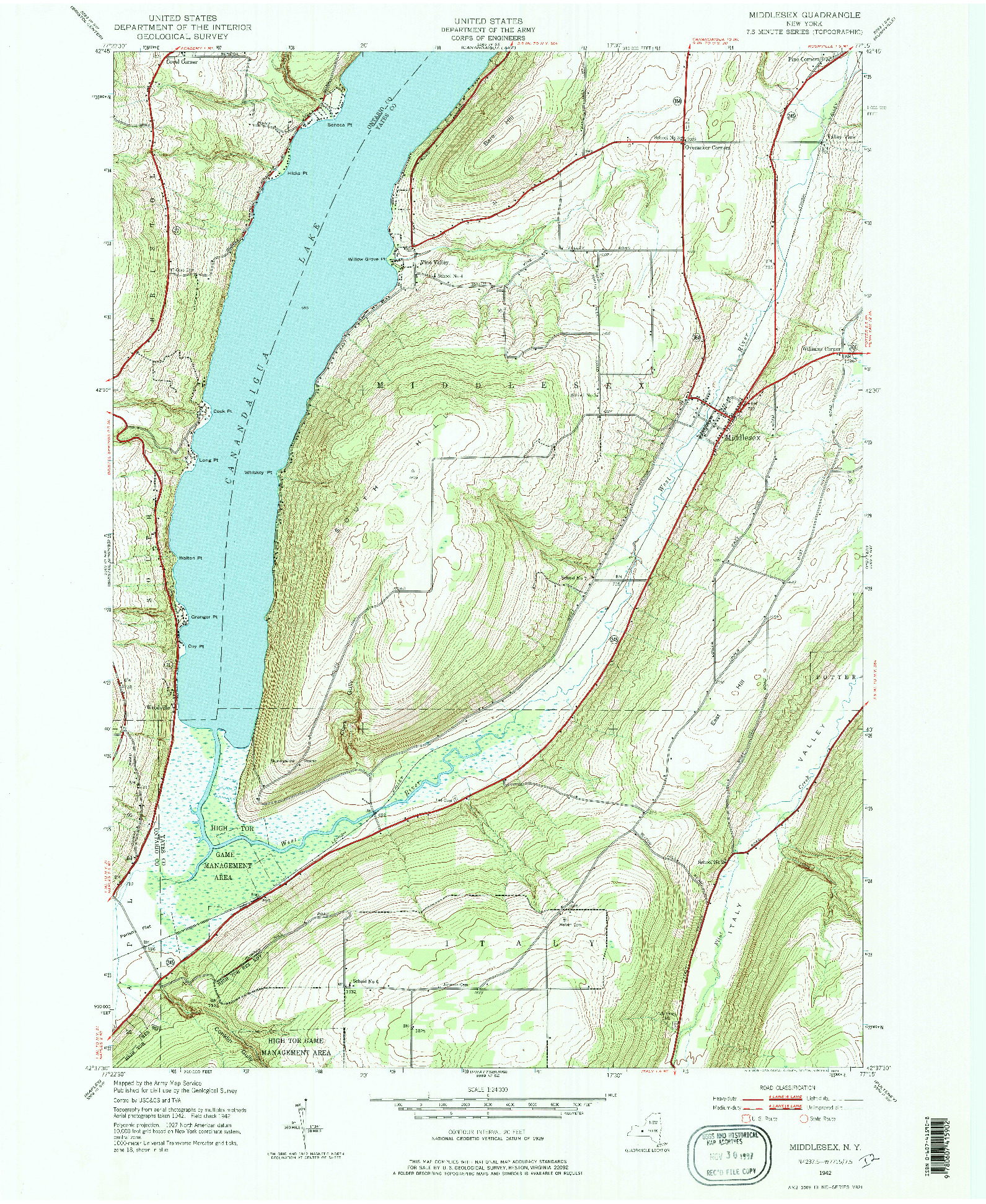 USGS 1:24000-SCALE QUADRANGLE FOR MIDDLESEX, NY 1942