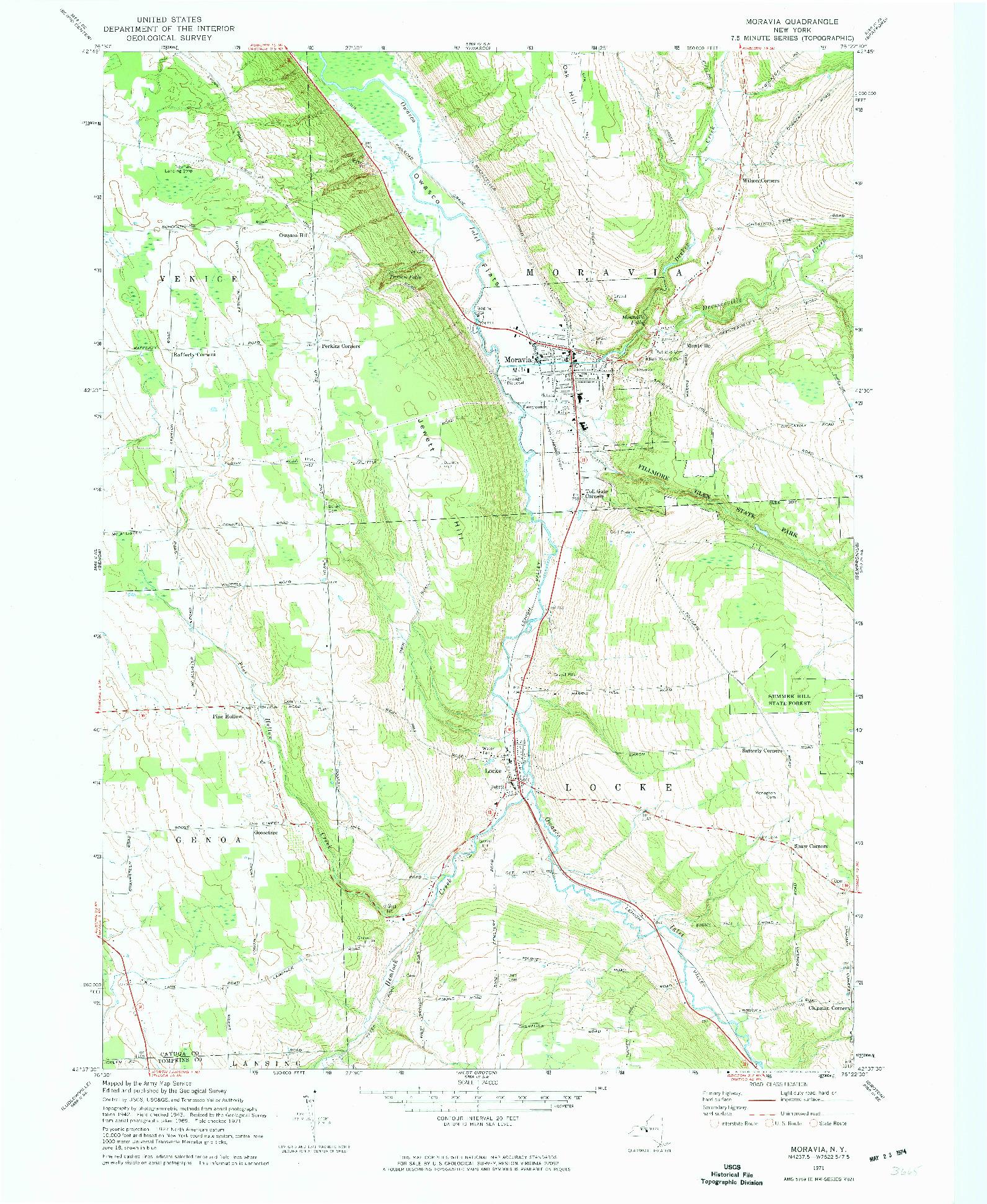 USGS 1:24000-SCALE QUADRANGLE FOR MORAVIA, NY 1971