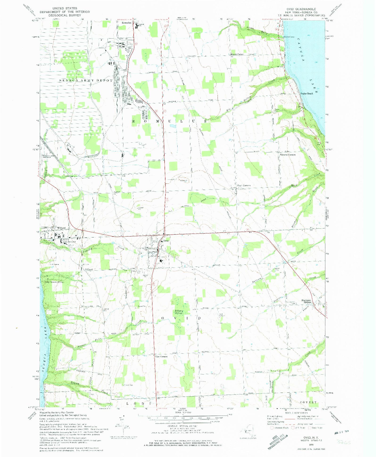 USGS 1:24000-SCALE QUADRANGLE FOR OVID, NY 1970
