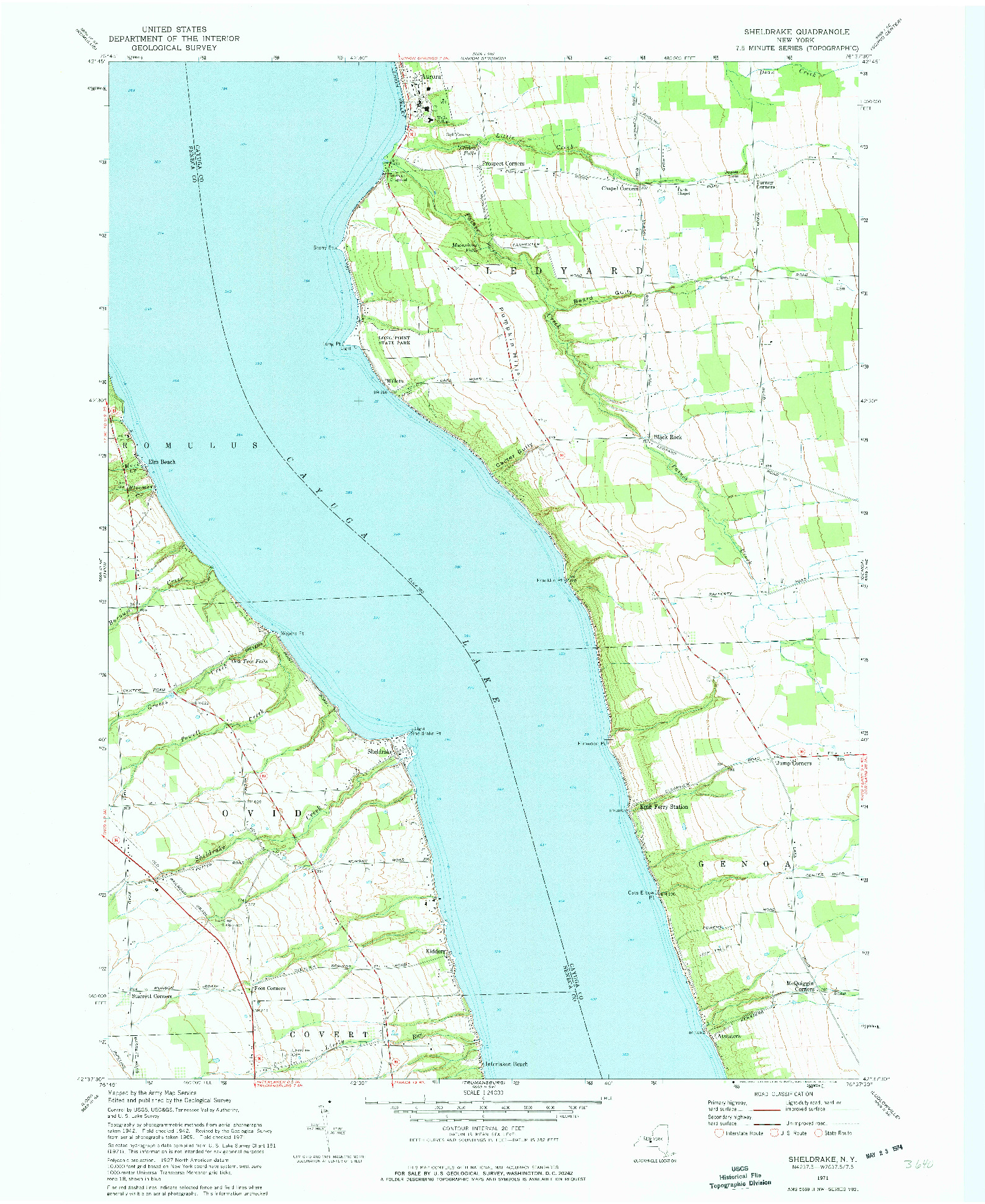USGS 1:24000-SCALE QUADRANGLE FOR SHELDRAKE, NY 1971