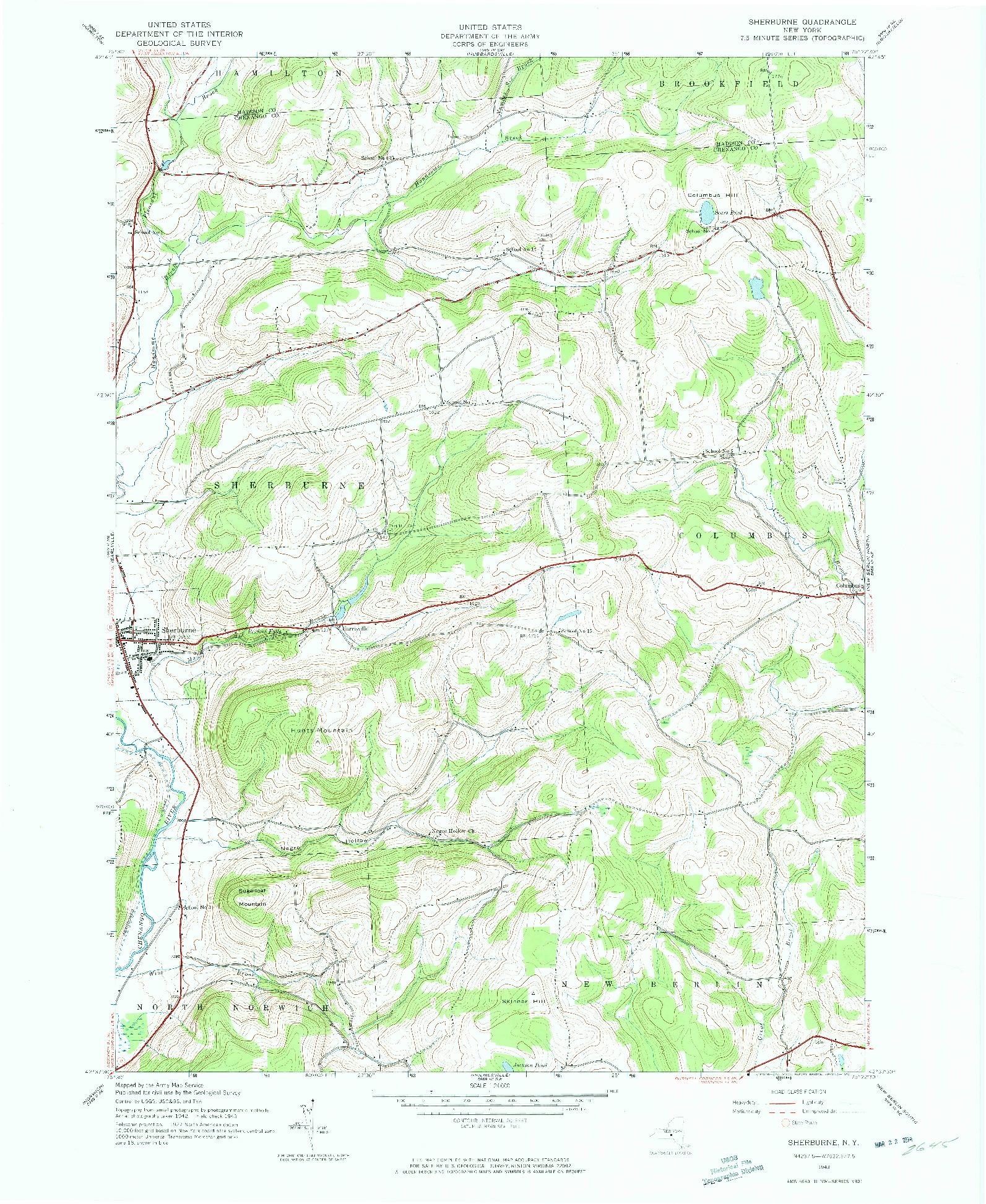 USGS 1:24000-SCALE QUADRANGLE FOR SHERBURNE, NY 1943