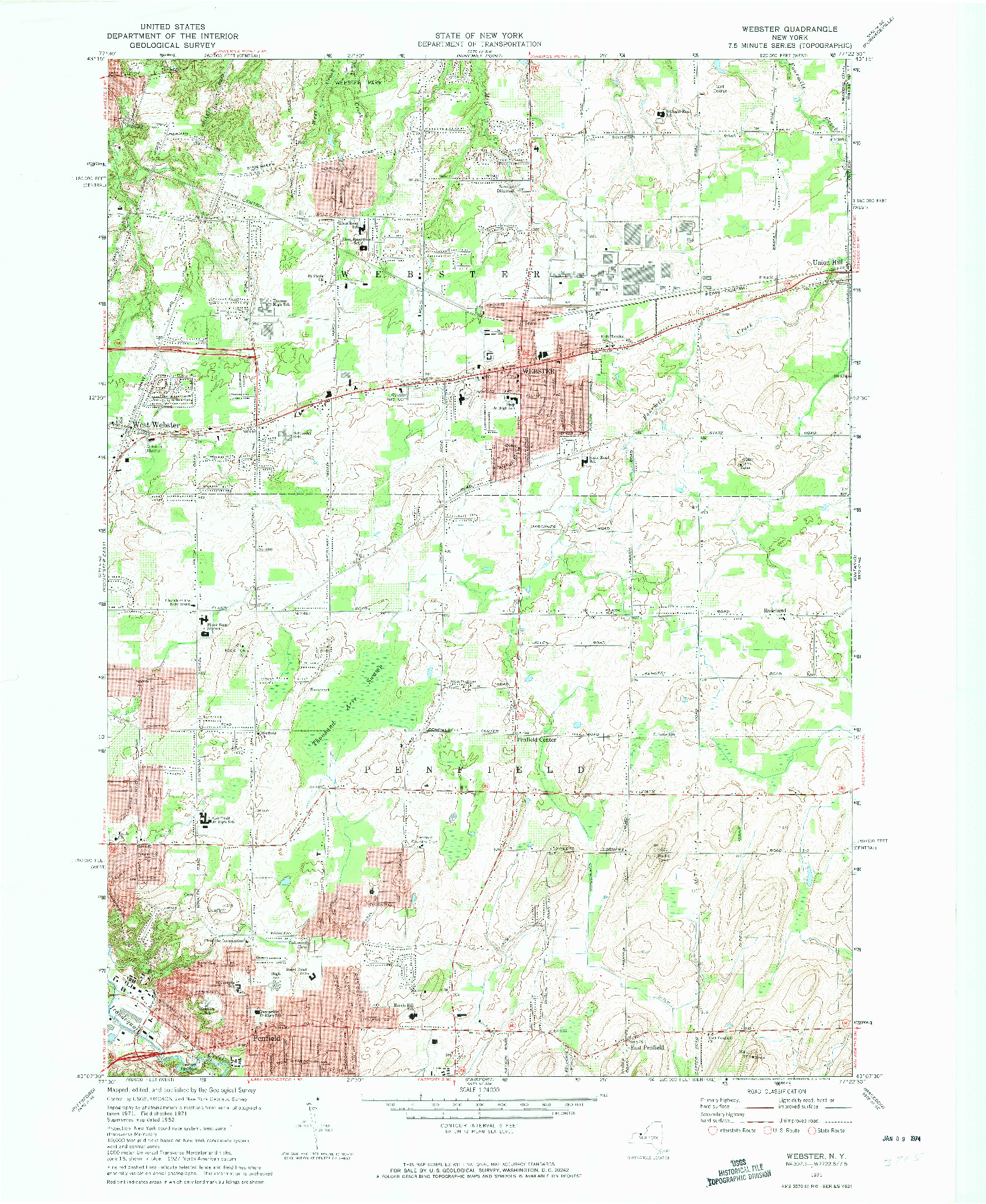 USGS 1:24000-SCALE QUADRANGLE FOR WEBSTER, NY 1971