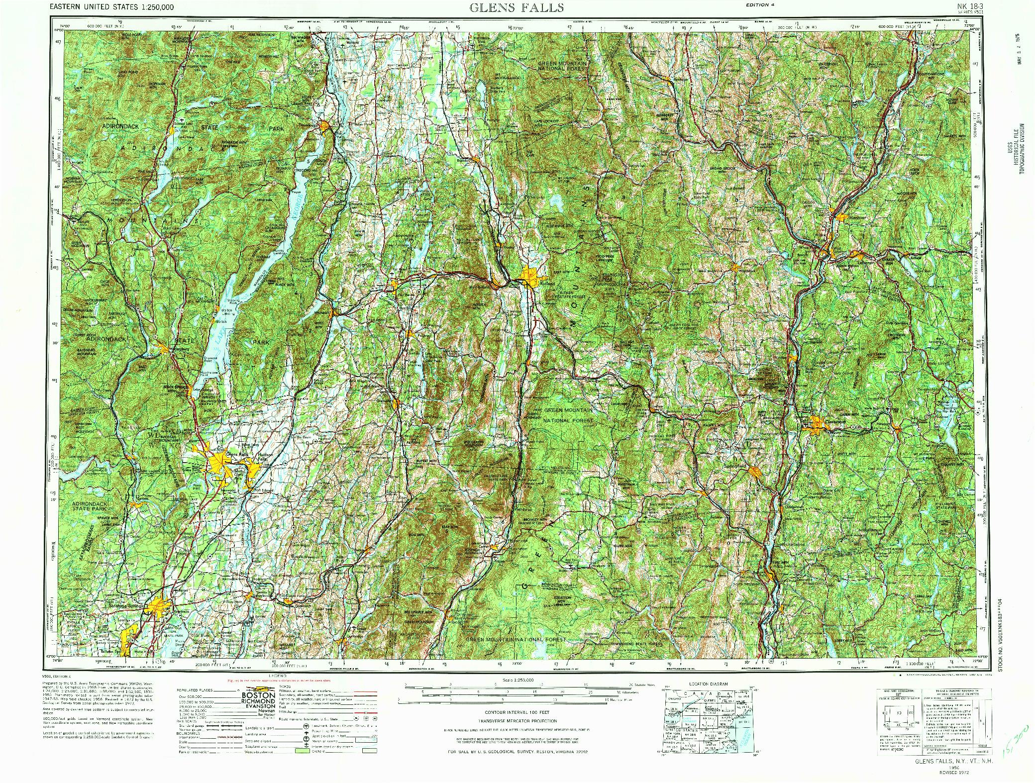 USGS 1:250000-SCALE QUADRANGLE FOR GLENS FALLS, NY 1956