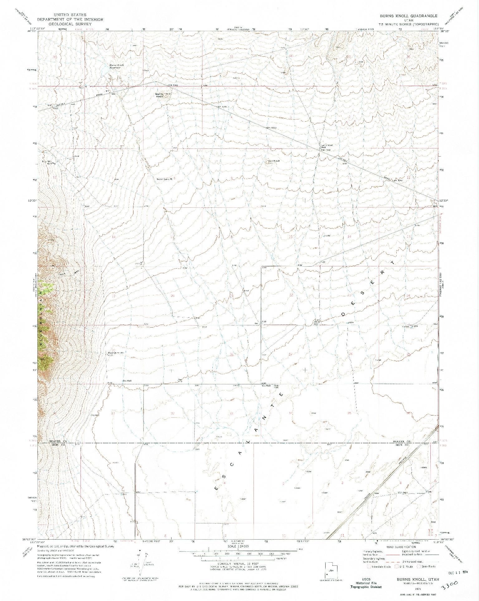 USGS 1:24000-SCALE QUADRANGLE FOR BURNS KNOLL, UT 1971