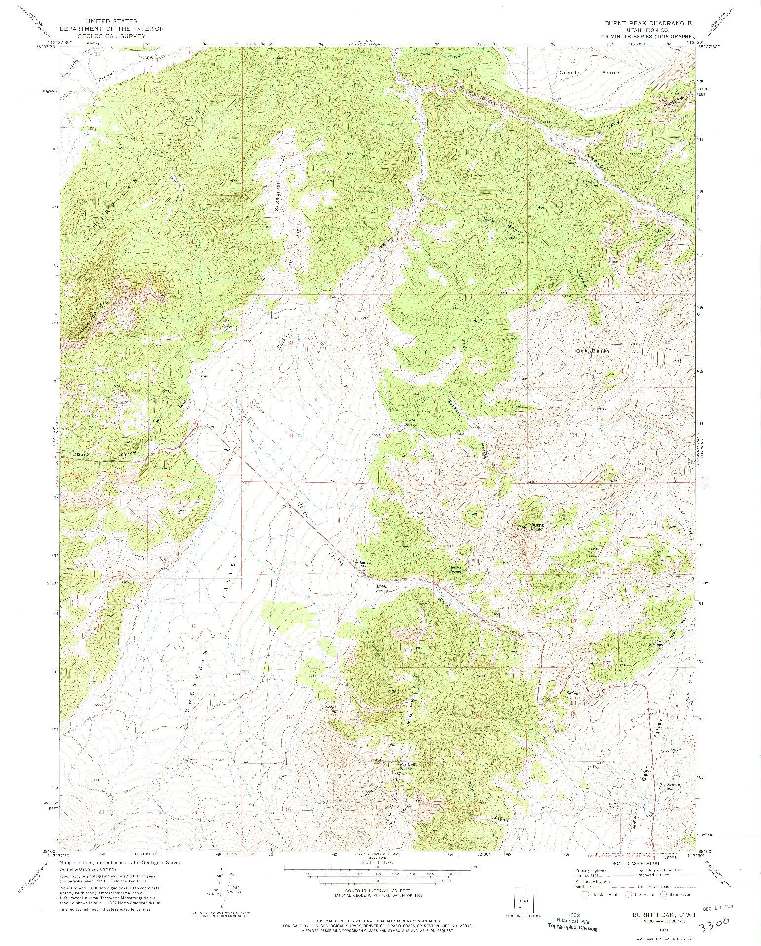 USGS 1:24000-SCALE QUADRANGLE FOR BURNT PEAK, UT 1971