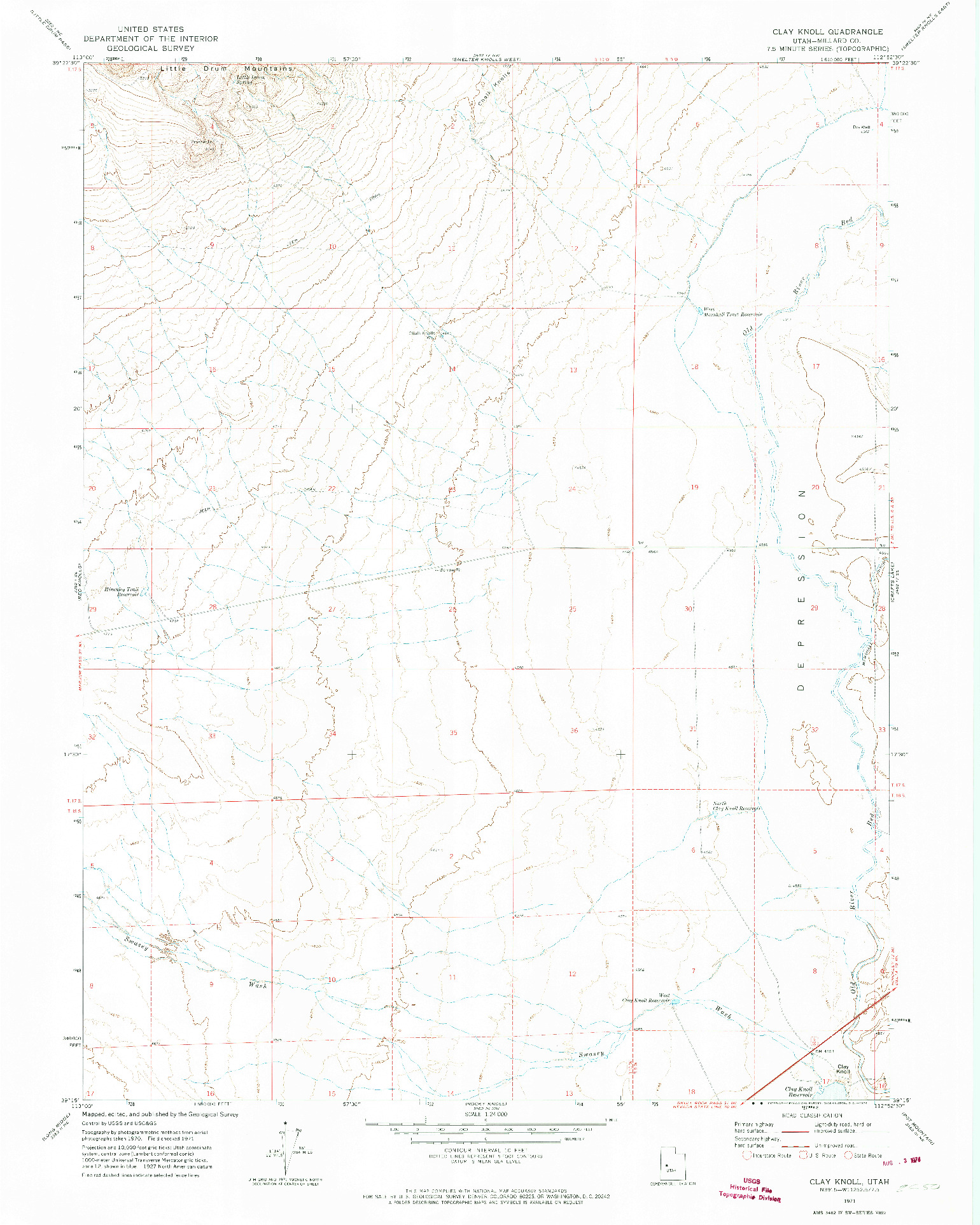 USGS 1:24000-SCALE QUADRANGLE FOR CLAY KNOLL, UT 1971
