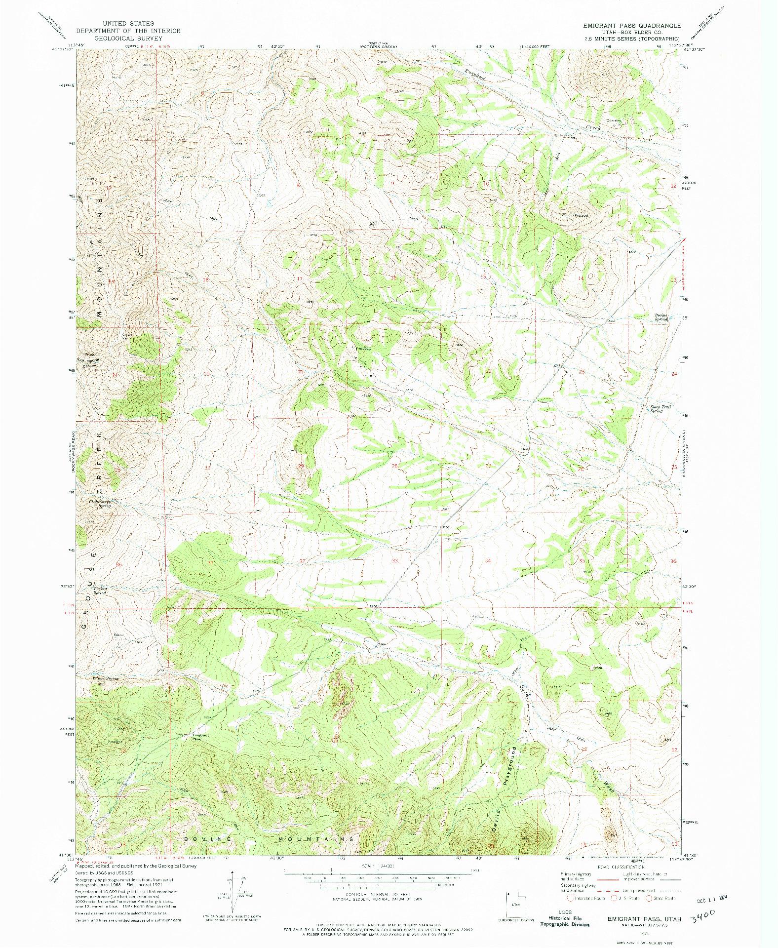 USGS 1:24000-SCALE QUADRANGLE FOR EMIGRANT PASS, UT 1971