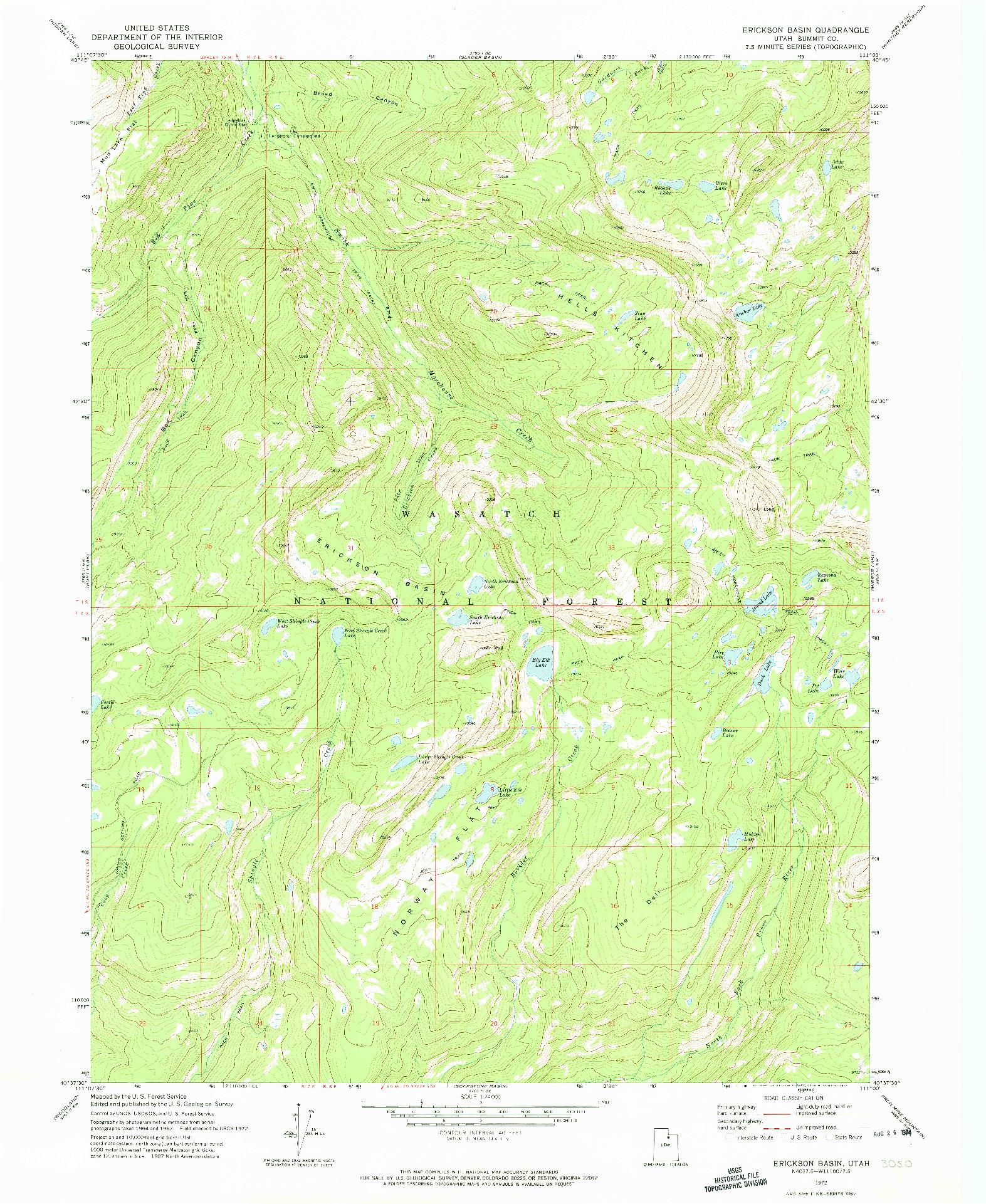 USGS 1:24000-SCALE QUADRANGLE FOR ERICKSON BASIN, UT 1972