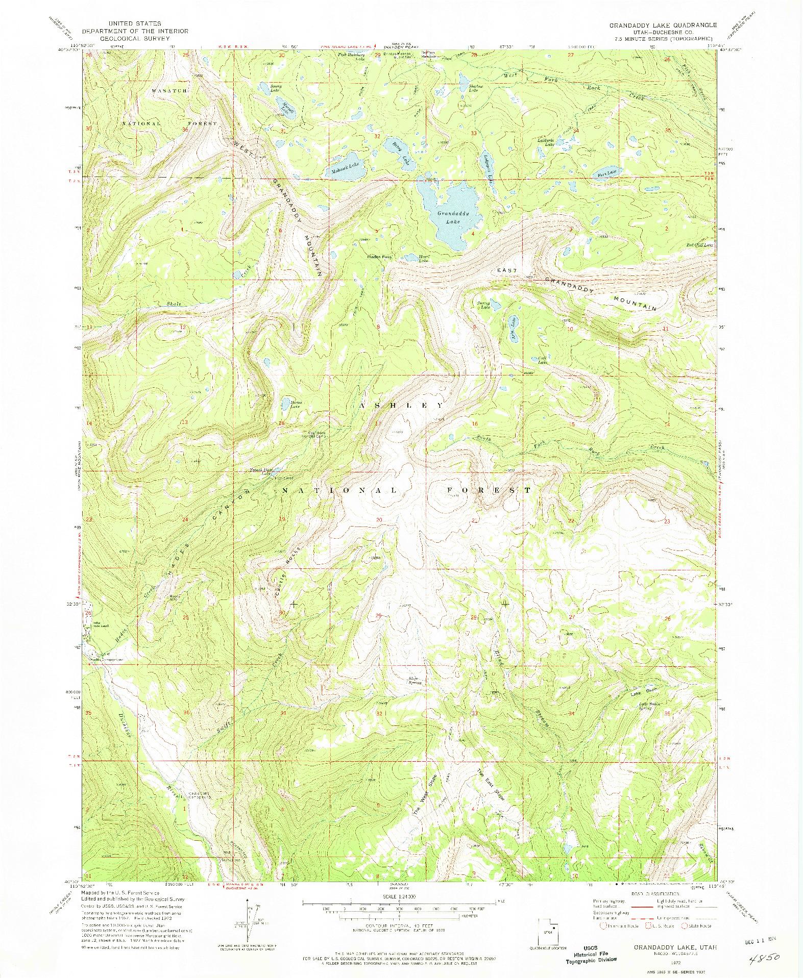 USGS 1:24000-SCALE QUADRANGLE FOR GRANDADDY LAKE, UT 1972