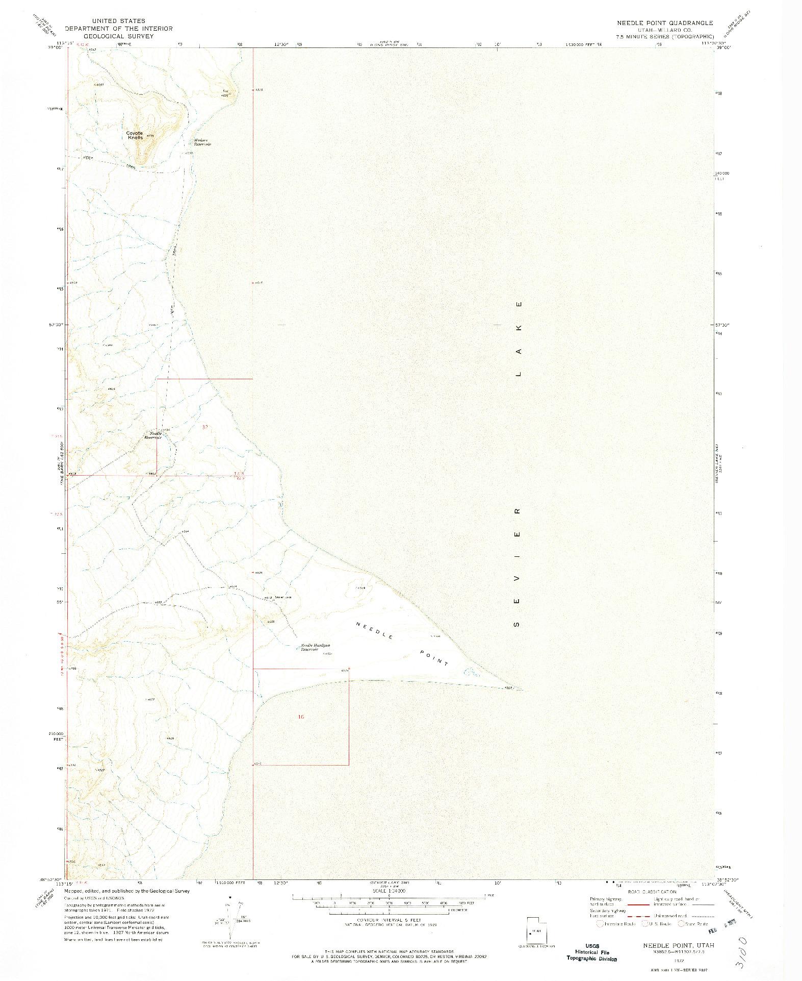 USGS 1:24000-SCALE QUADRANGLE FOR NEEDLE POINT, UT 1972