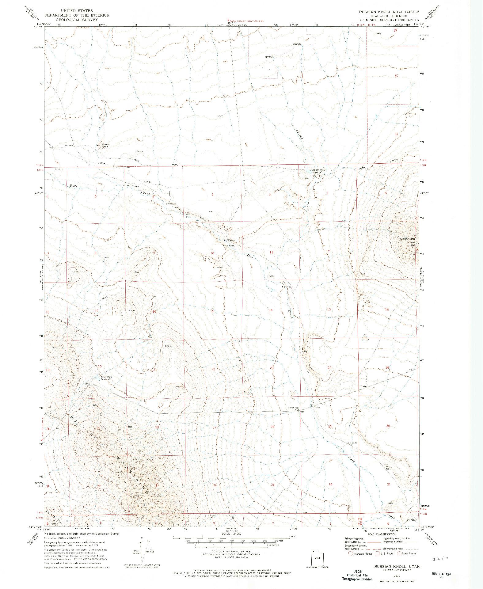 USGS 1:24000-SCALE QUADRANGLE FOR RUSSIAN KNOLL, UT 1971