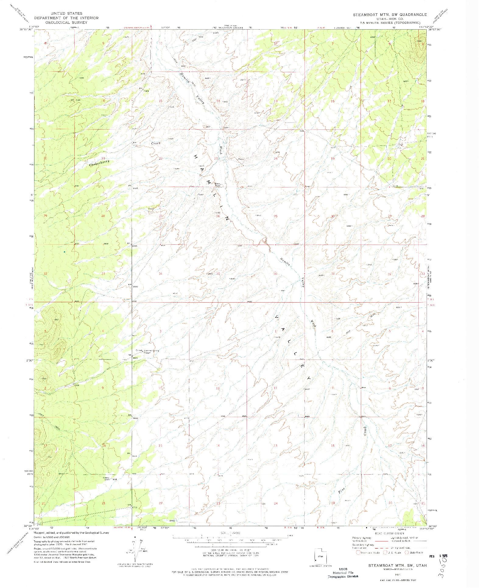 USGS 1:24000-SCALE QUADRANGLE FOR STEAMBOAT MTN SW, UT 1971