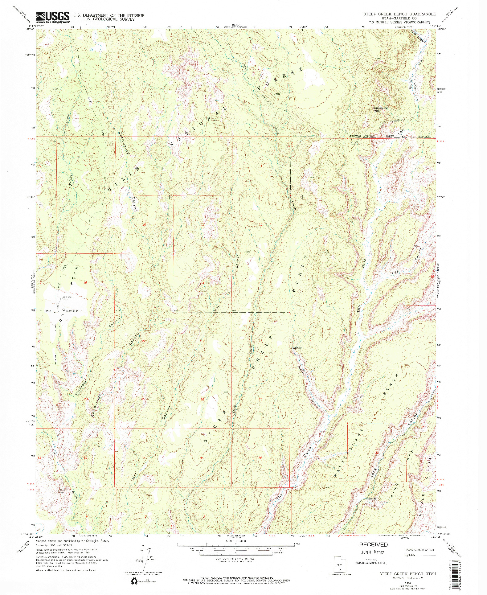 USGS 1:24000-SCALE QUADRANGLE FOR STEEP CREEK BENCH, UT 1964
