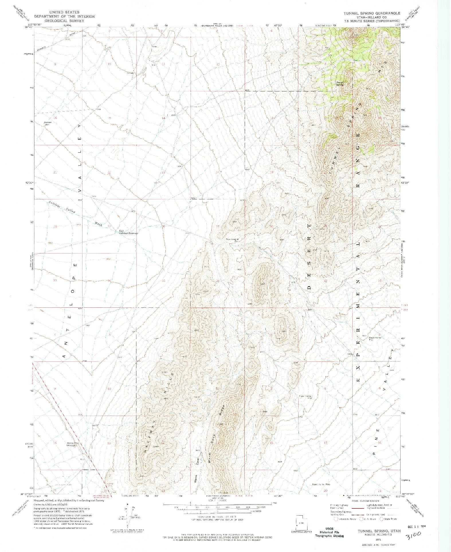 USGS 1:24000-SCALE QUADRANGLE FOR TUNNEL SPRING, UT 1971