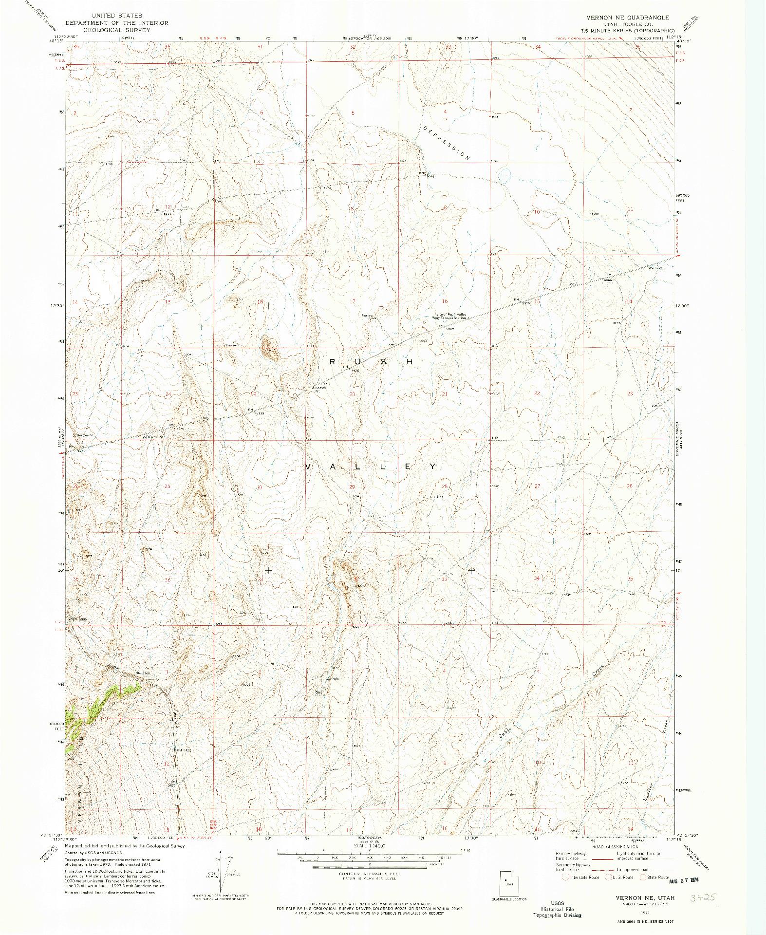 USGS 1:24000-SCALE QUADRANGLE FOR VERNON NE, UT 1971