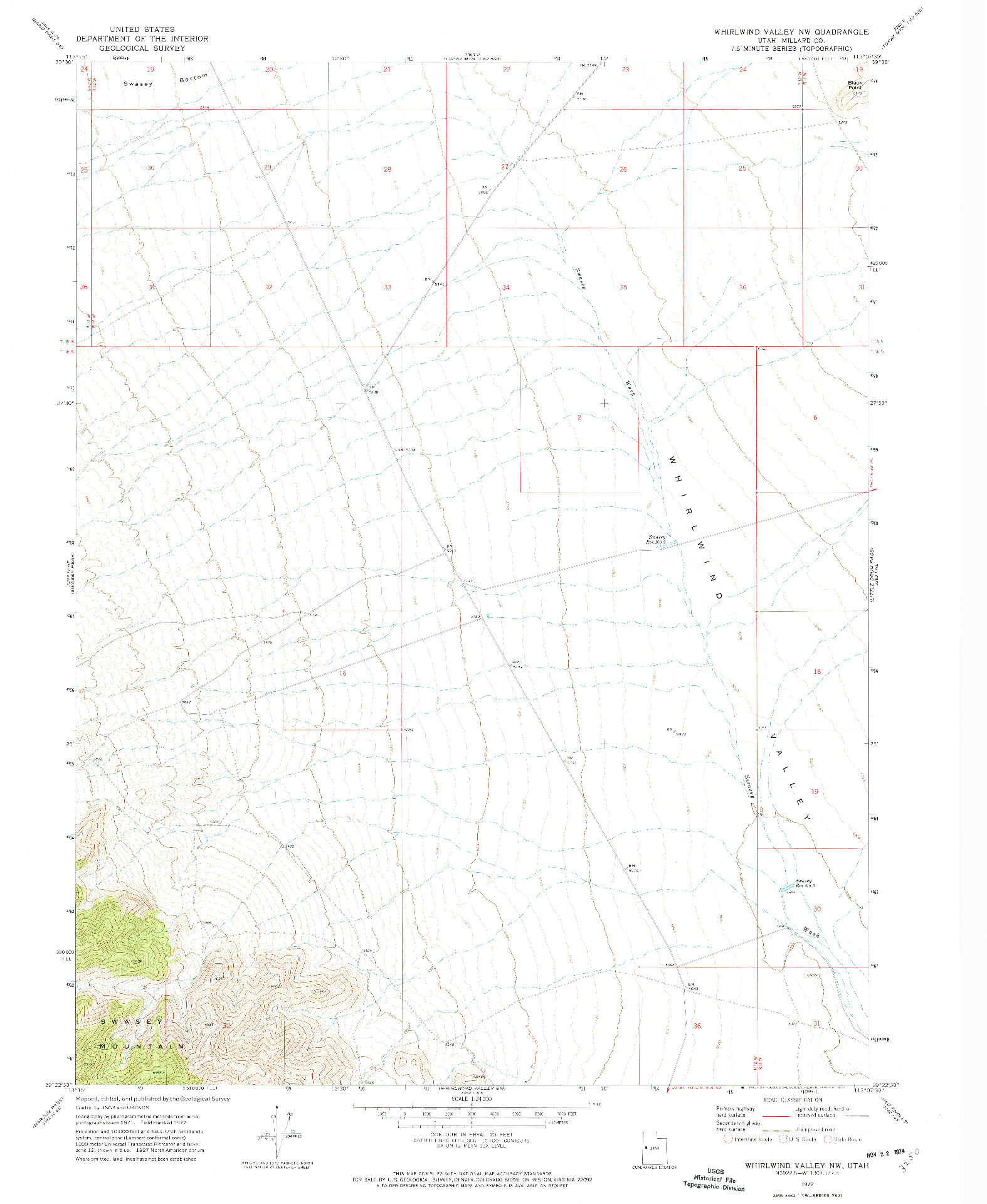 USGS 1:24000-SCALE QUADRANGLE FOR WHIRLWIND VALLEY NW, UT 1972