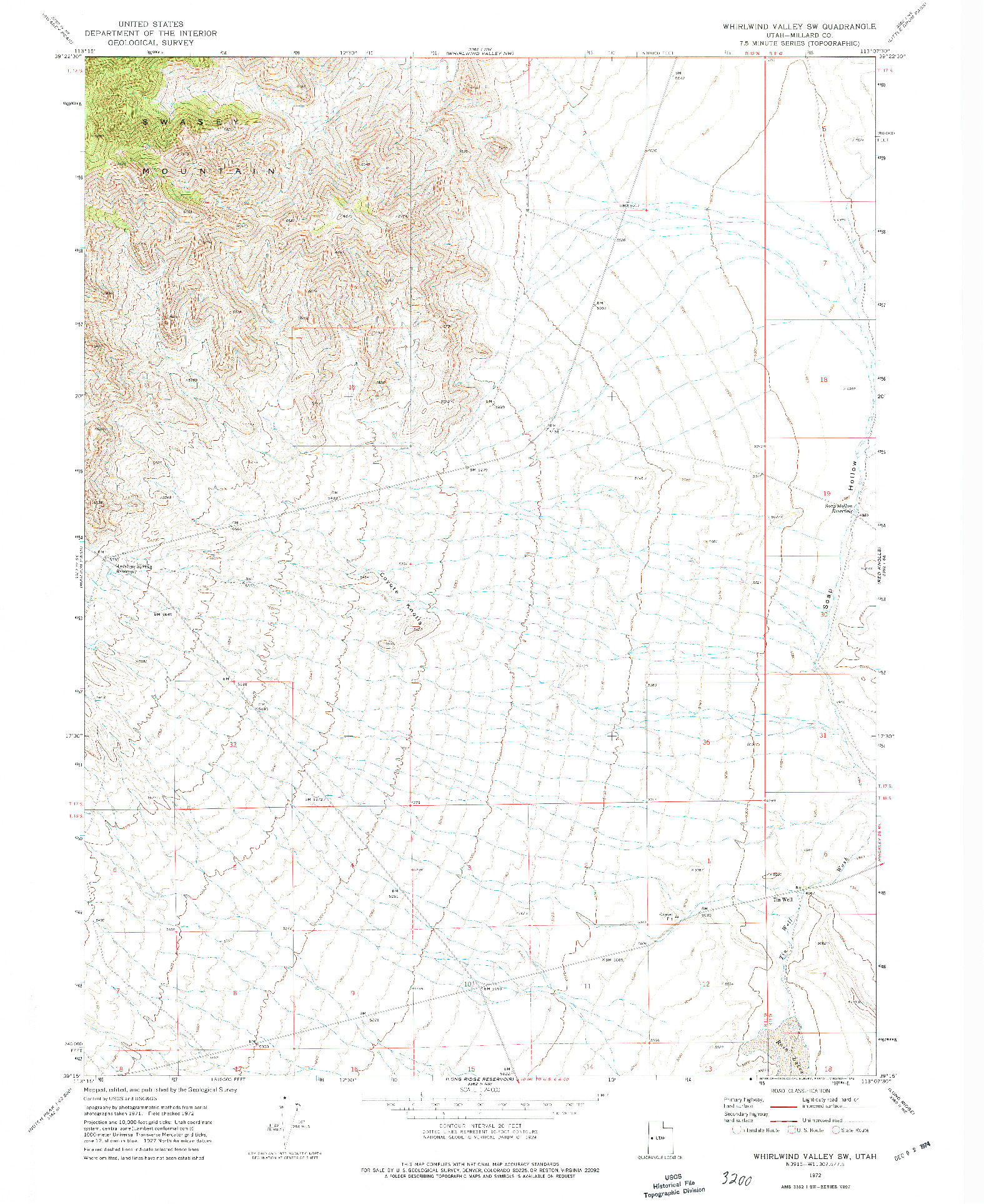 USGS 1:24000-SCALE QUADRANGLE FOR WHIRLWIND VALLEY SW, UT 1972