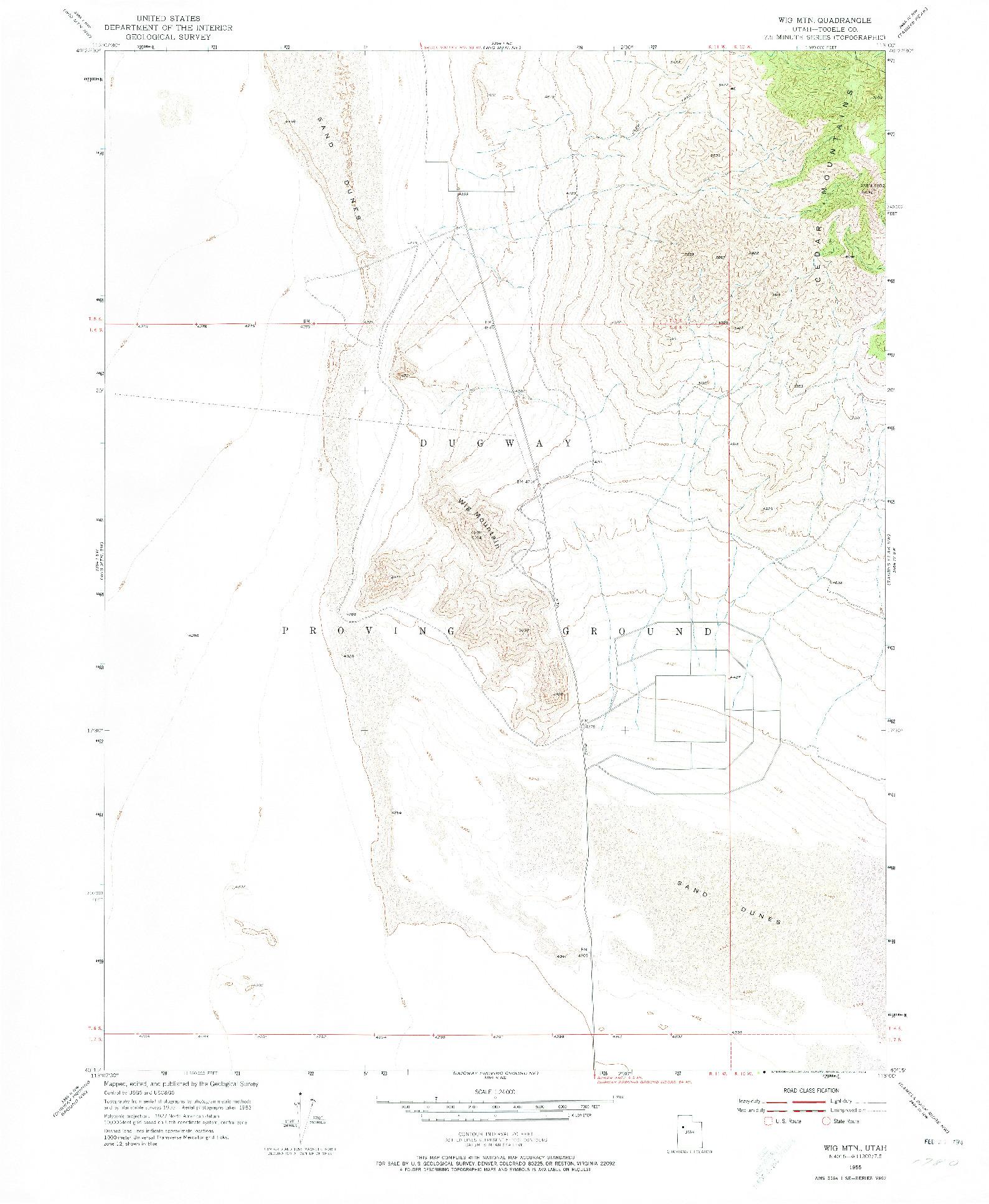 USGS 1:24000-SCALE QUADRANGLE FOR WIG MTN, UT 1955