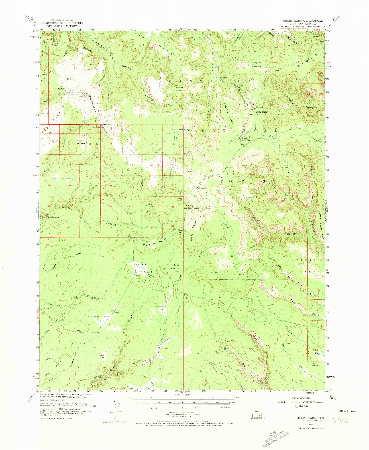USGS 1:62500-SCALE QUADRANGLE FOR BEARS EARS, UT 1954