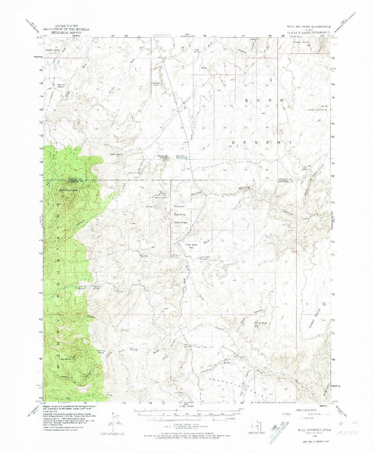 USGS 1:62500-SCALE QUADRANGLE FOR BULL MOUNTAIN, UT 1952