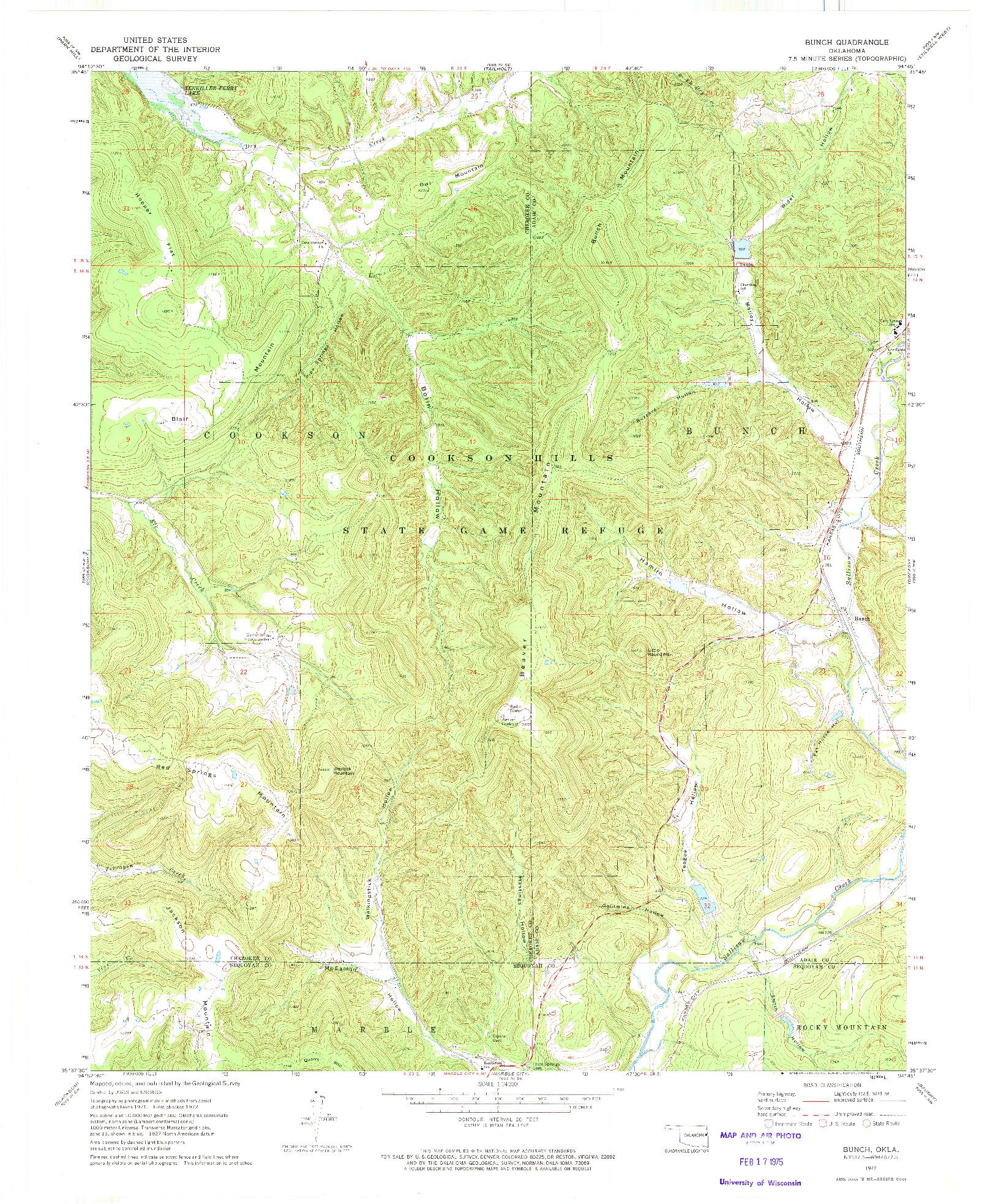 USGS 1:24000-SCALE QUADRANGLE FOR BUNCH, OK 1972