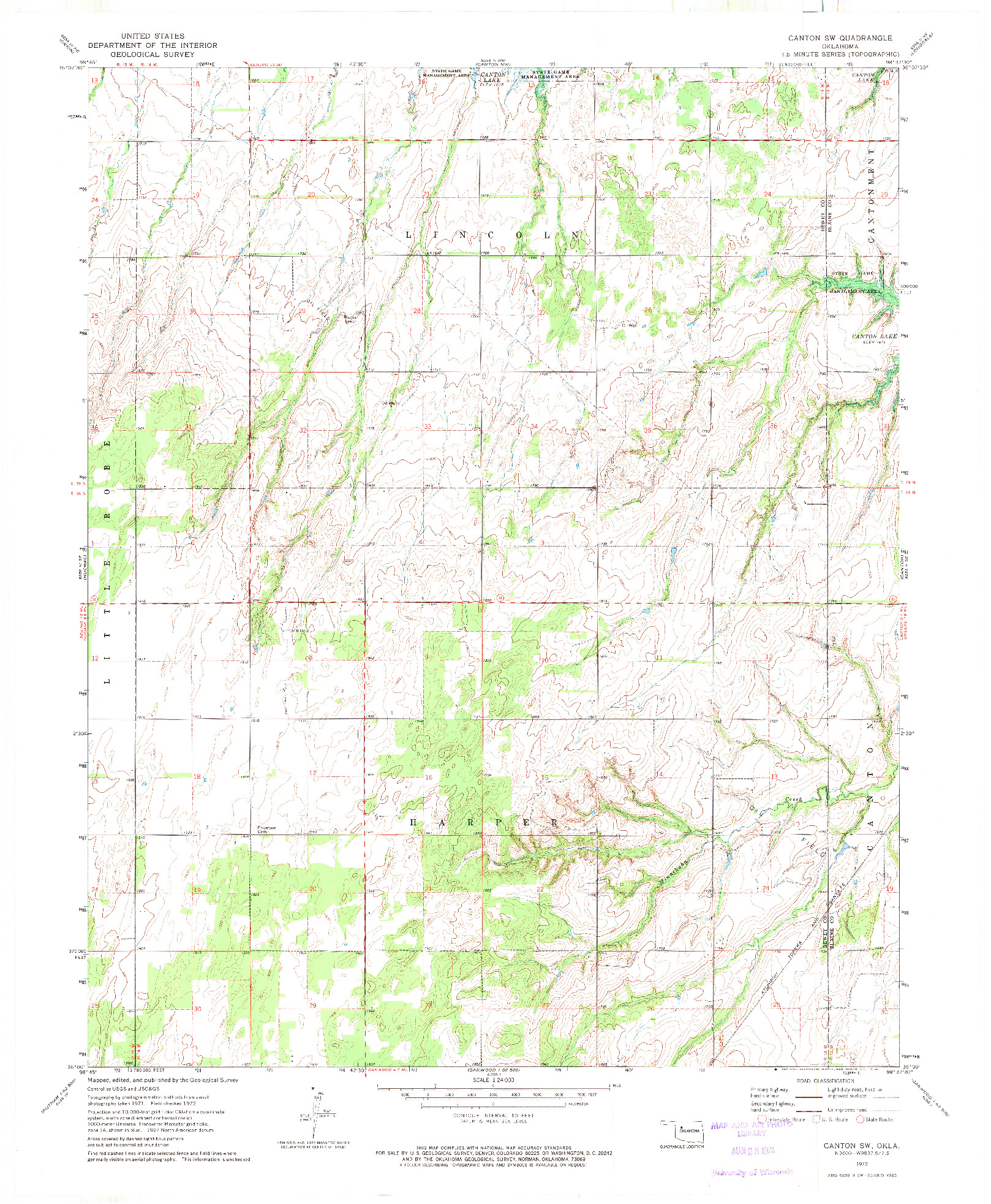 USGS 1:24000-SCALE QUADRANGLE FOR CANTON SW, OK 1972