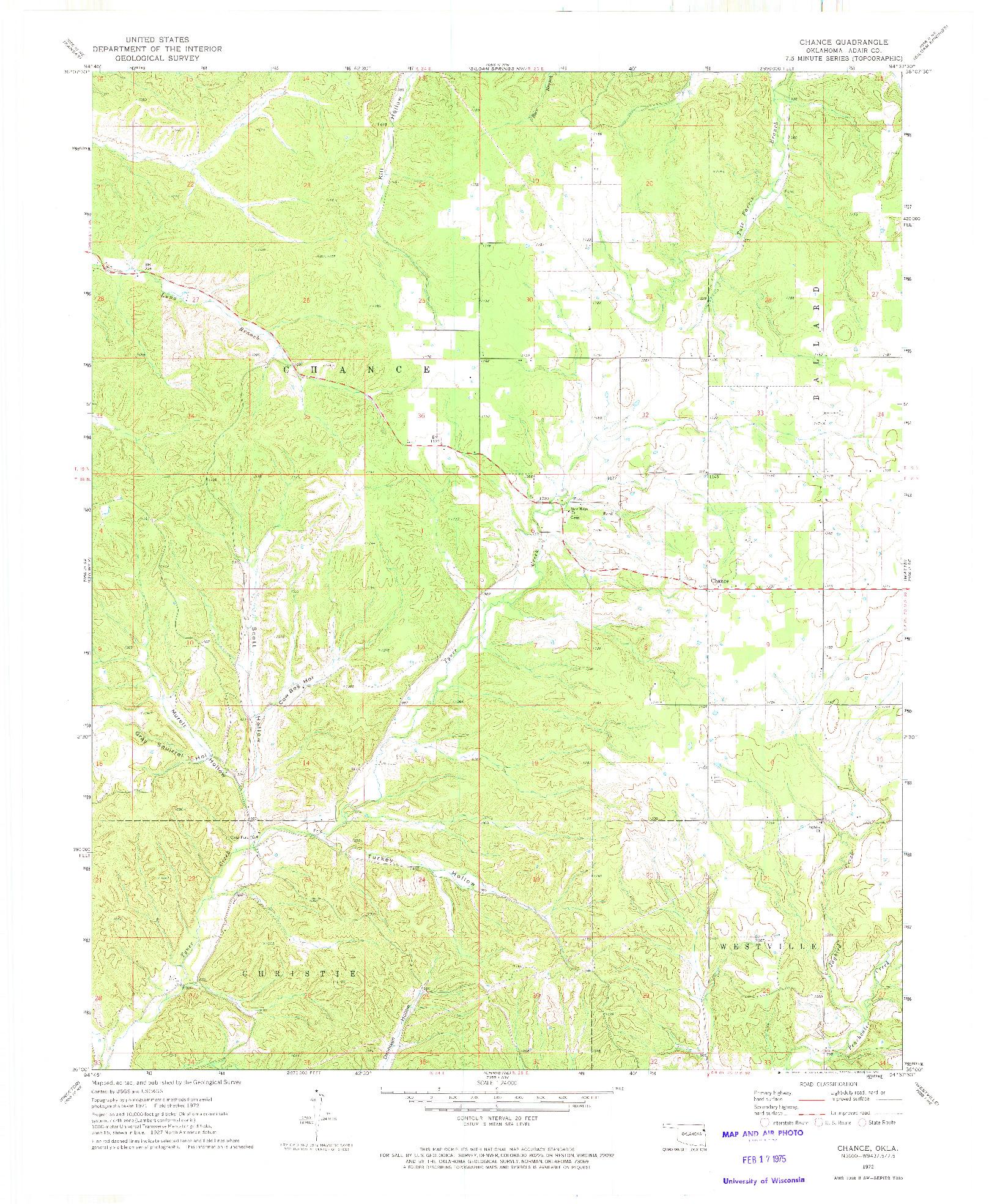USGS 1:24000-SCALE QUADRANGLE FOR CHANCE, OK 1972