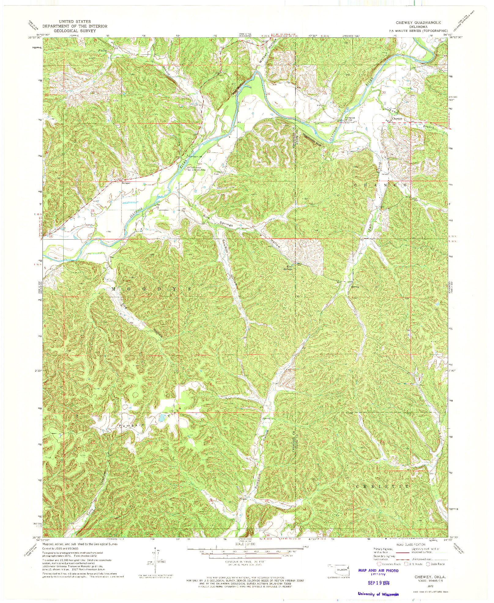 USGS 1:24000-SCALE QUADRANGLE FOR CHEWEY, OK 1972