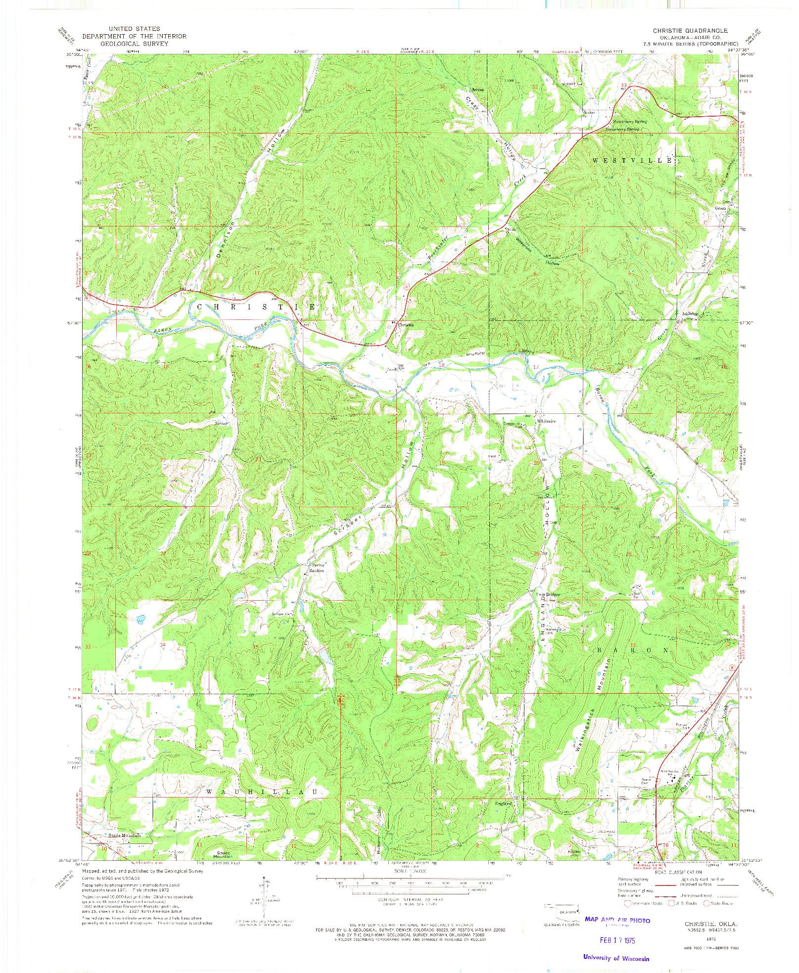 USGS 1:24000-SCALE QUADRANGLE FOR CHRISTIE, OK 1972