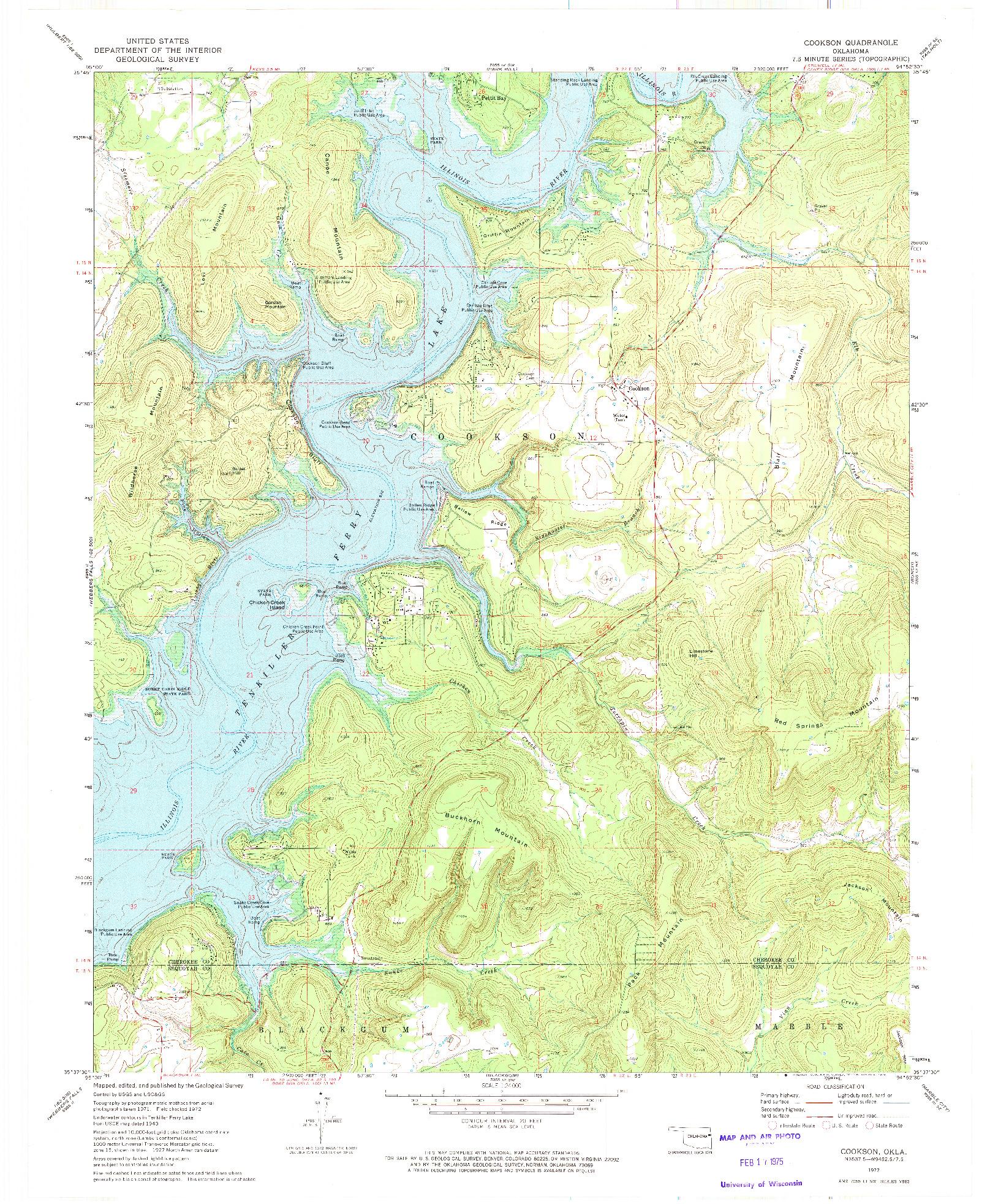 USGS 1:24000-SCALE QUADRANGLE FOR COOKSON, OK 1972